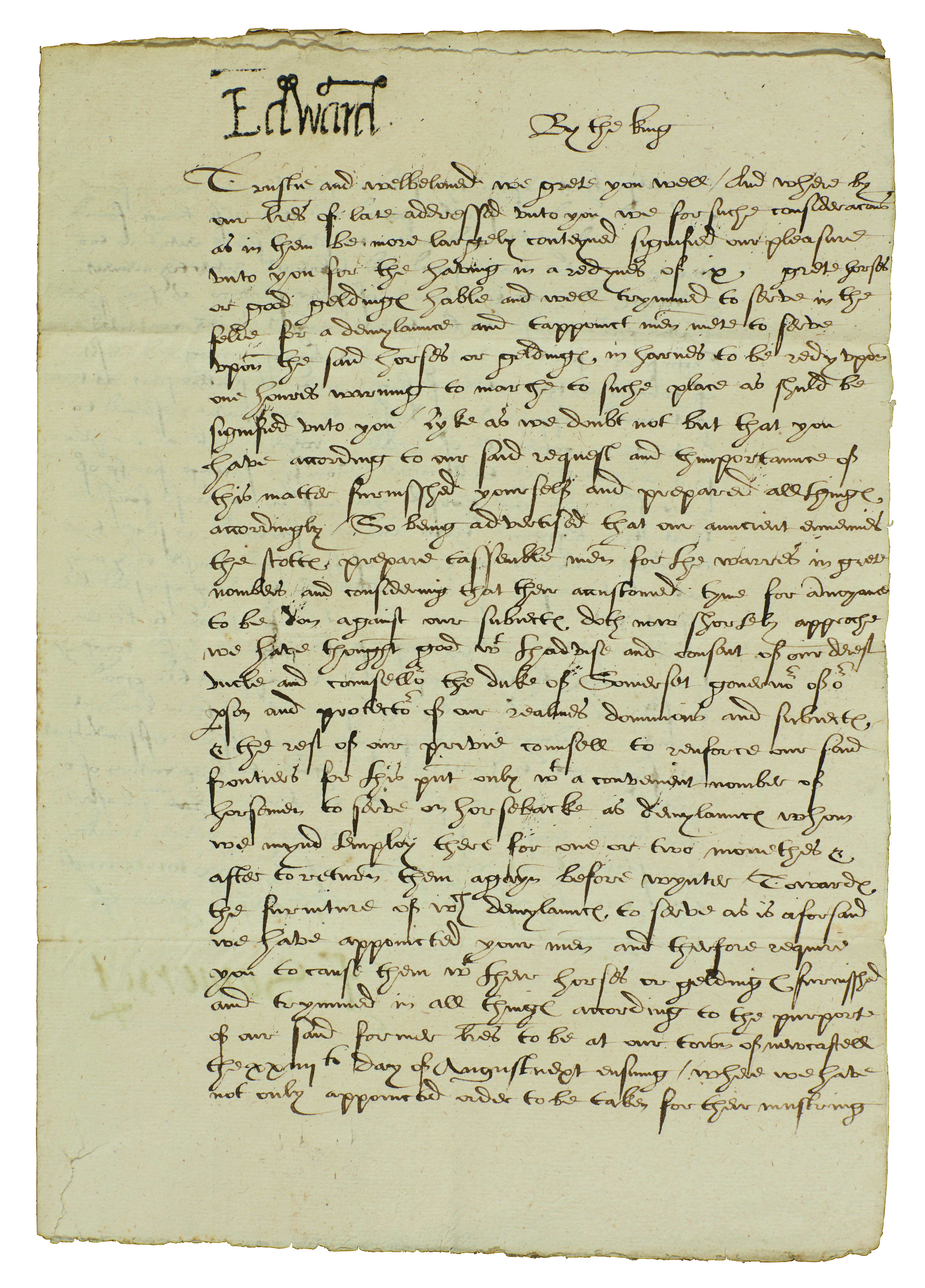 King Edward VI, Letter signed, with stamp, also signed by Protector Somerset, 1547