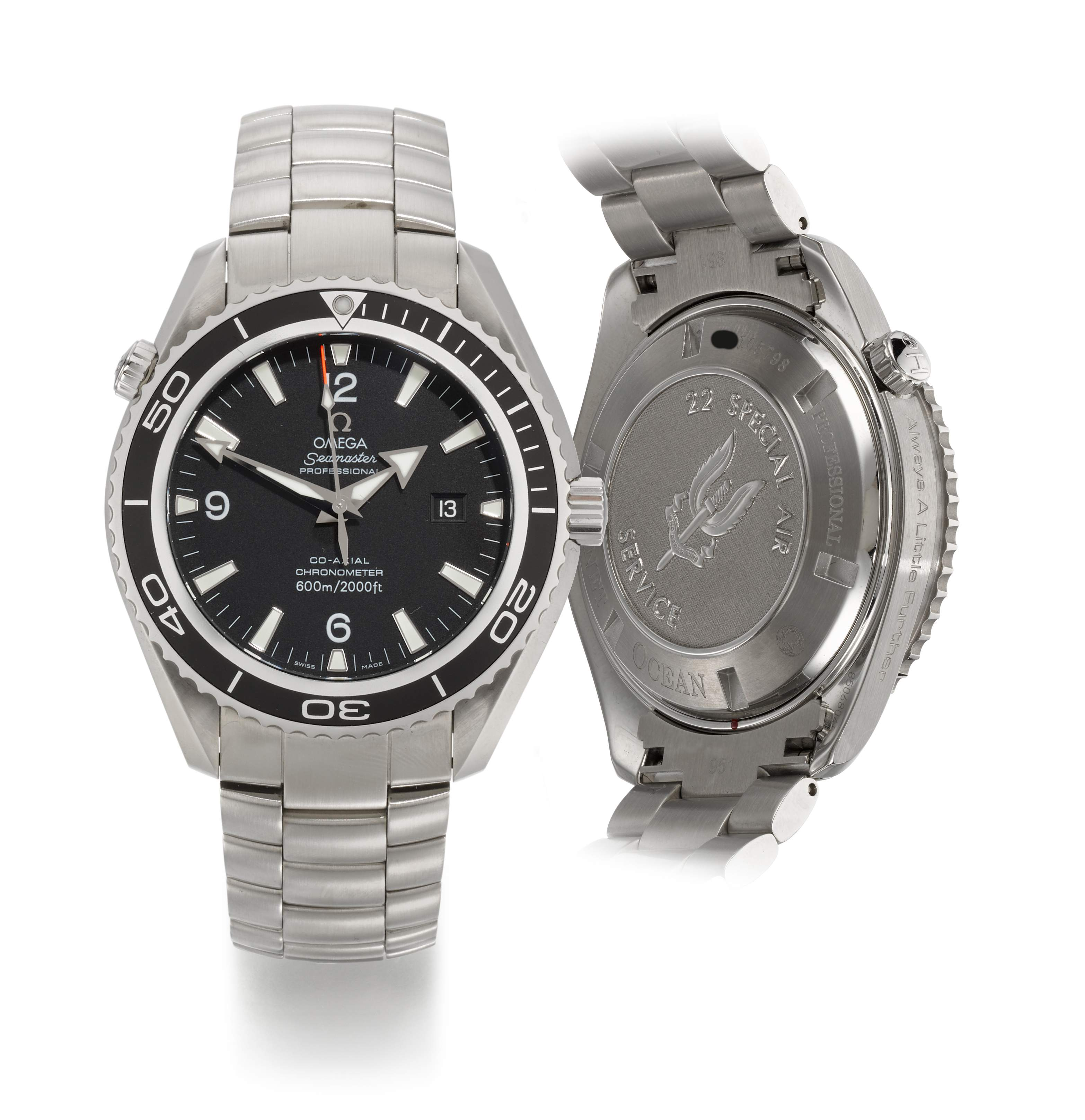 OMEGA | SEAMASTER PLANET OCEAN XL, 22 SPECIAL AIR SERVICE, REFERENCE 22005200 MILITARY STAINLESS STEEL WRISTWATCH WITH DATE, HELIUM ESCAPE VALVE AND BRACELET, CIRCA 2011
