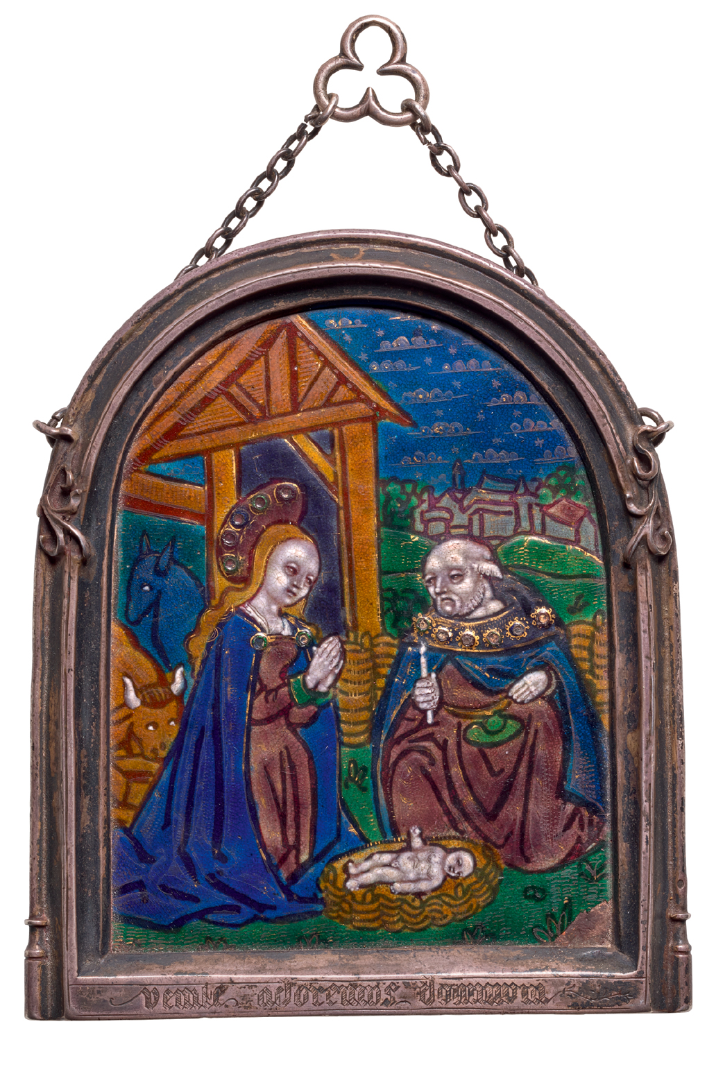FRENCH, LIMOGES, EARLY 16TH CENTURY | PLAQUE WITH THE ADORATION OF THE CHRIST CHILD