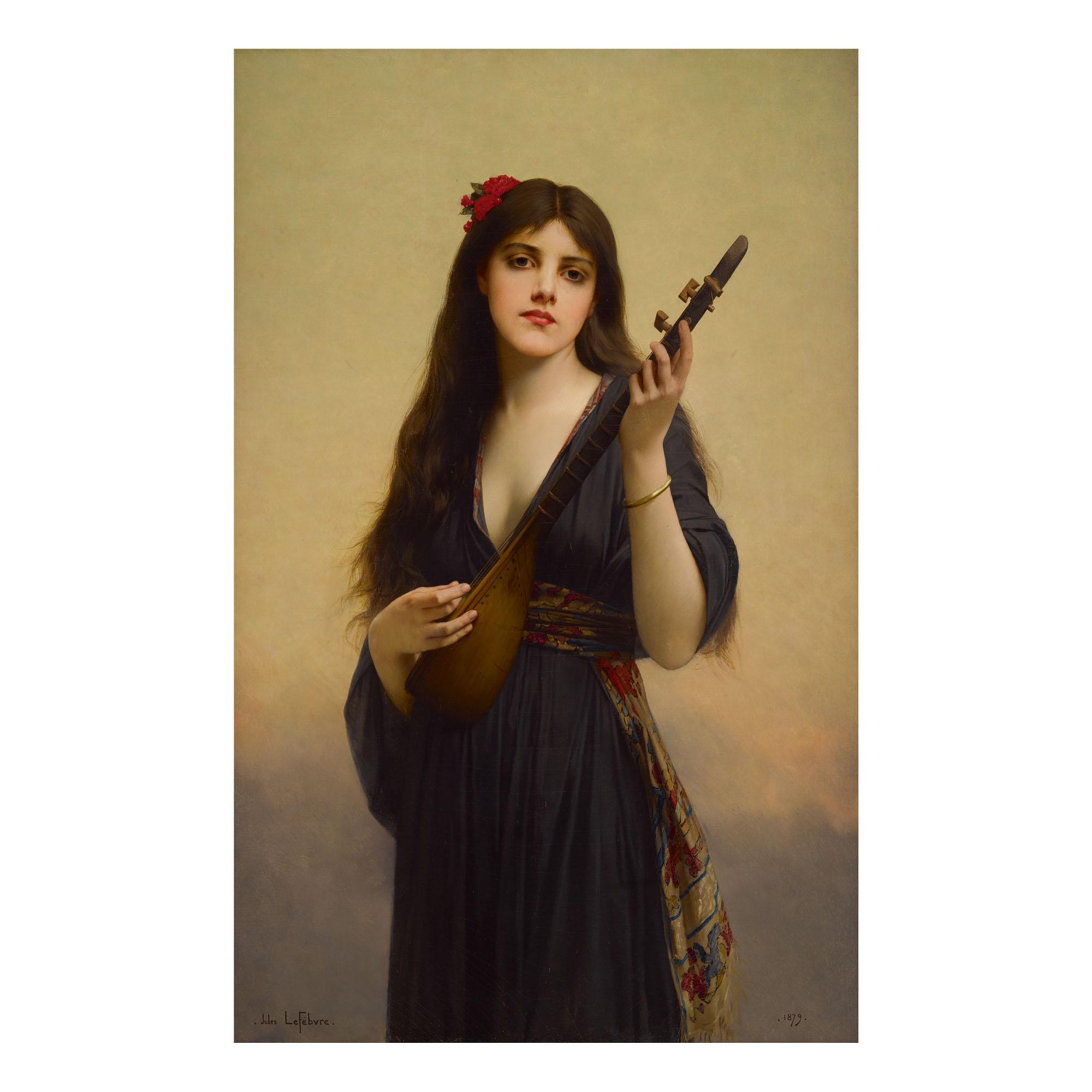 JULES JOSEPH LEFEBVRE | WOMAN PLAYING A LUTE