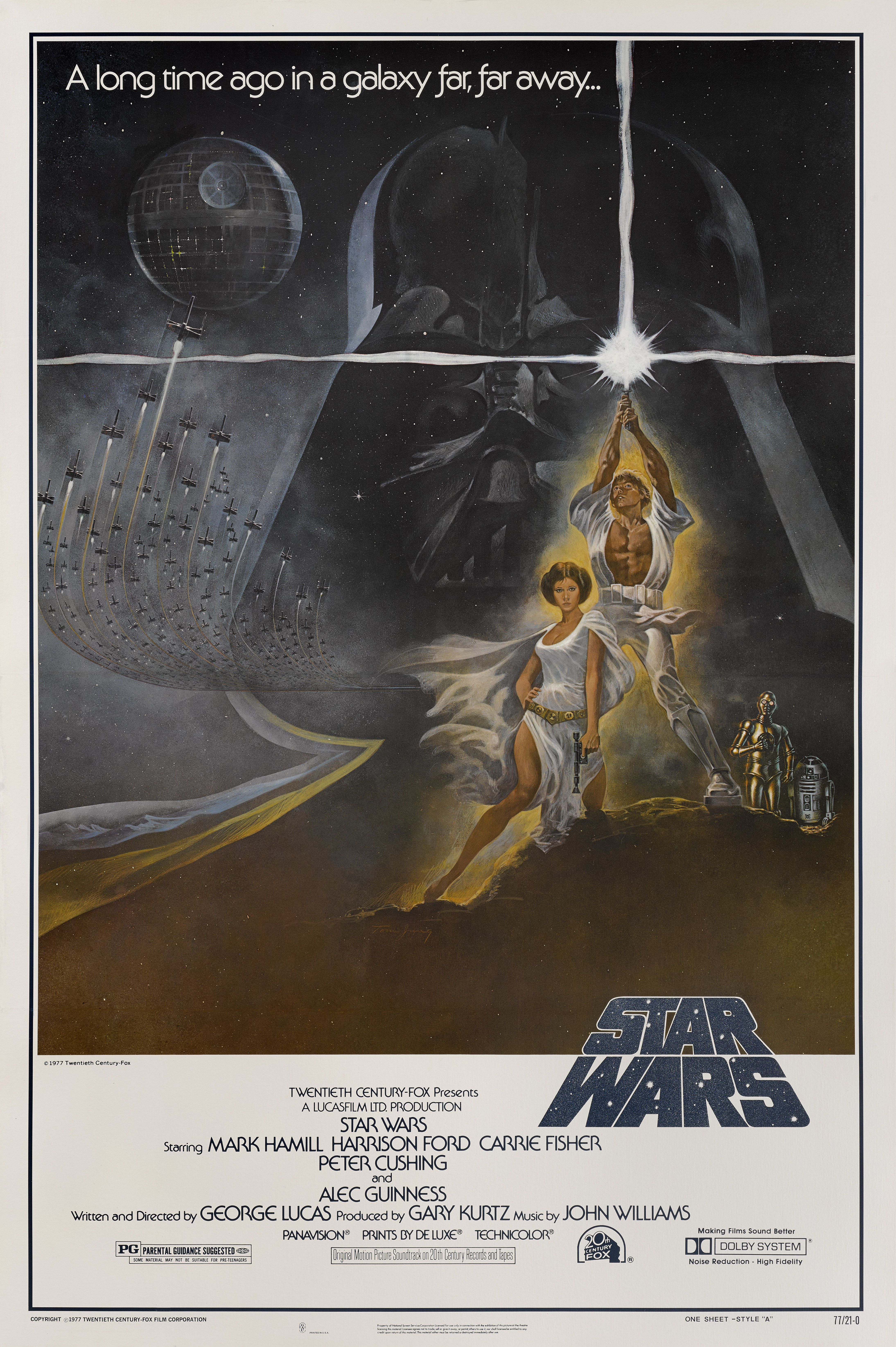 View full screen - View 1 of Lot 150.  Star Wars (1977) Poster, US, Unrated Style A, first printing 77/21-0  .