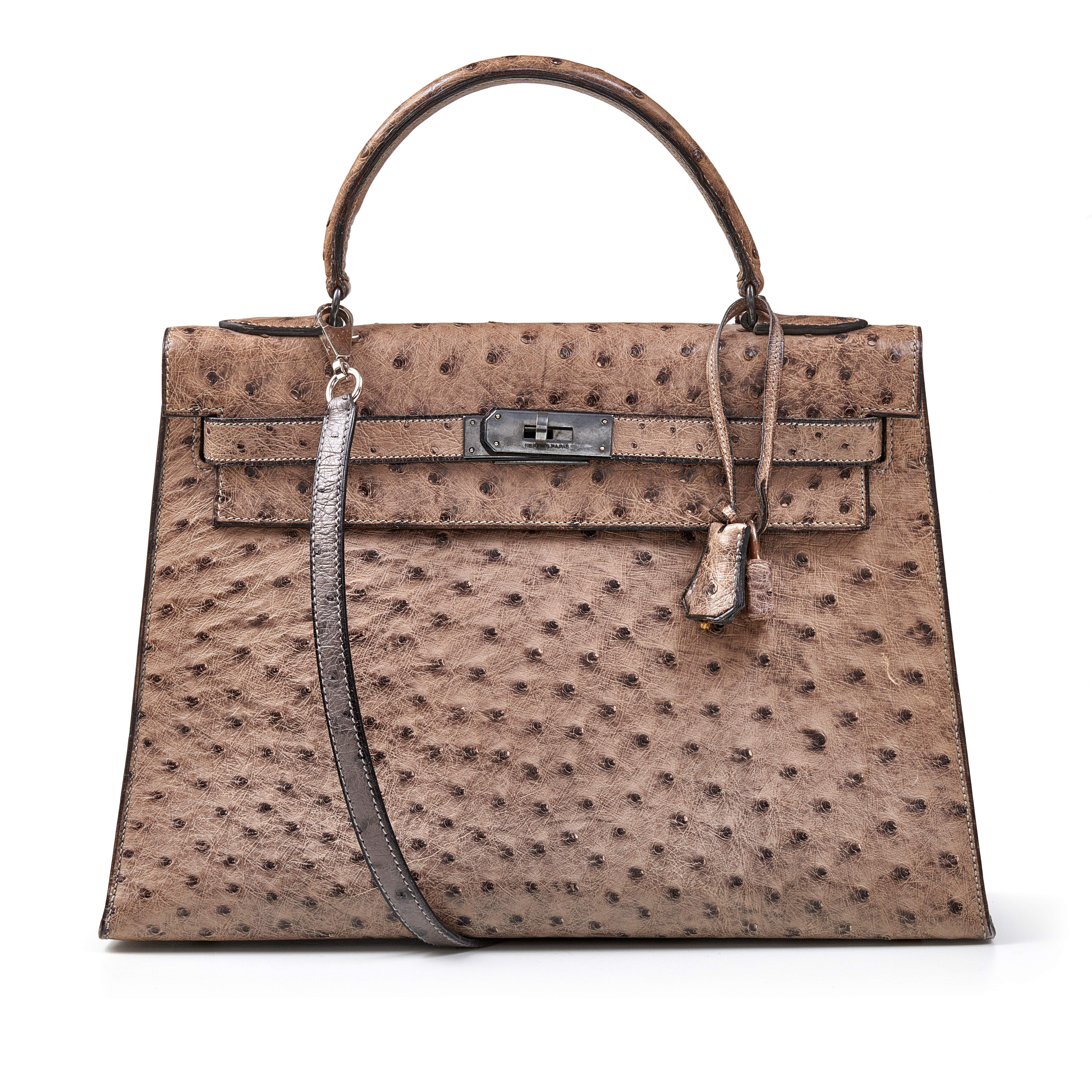 View full screen - View 1 of Lot 356. Mousse Kelly 35cm in Ostrich Leather with Gold Hardware, 1978.