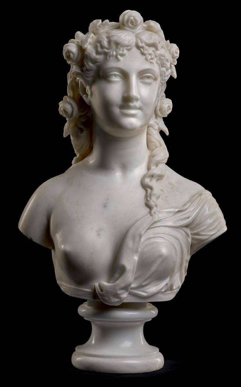 V. FRANCESCHI, ITALIAN, DATED 1870 | BUST OF FLORA