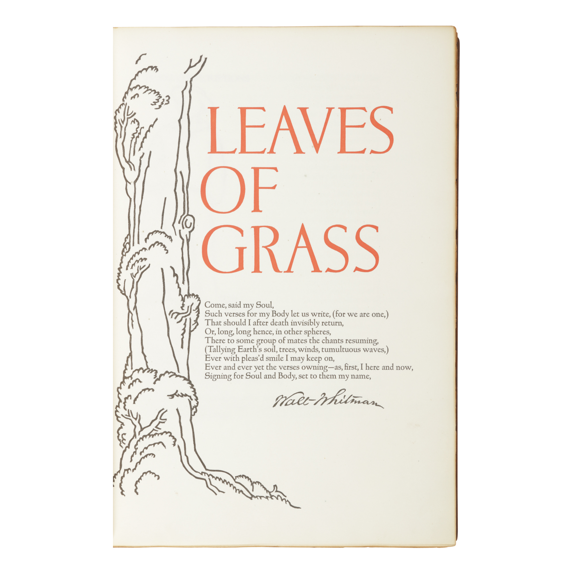 WHITMAN, WALT | Leaves of Grass...following the arrangement of the edition of 1891-'2.. [Grabhorn Press for] New York: Random House, 1930