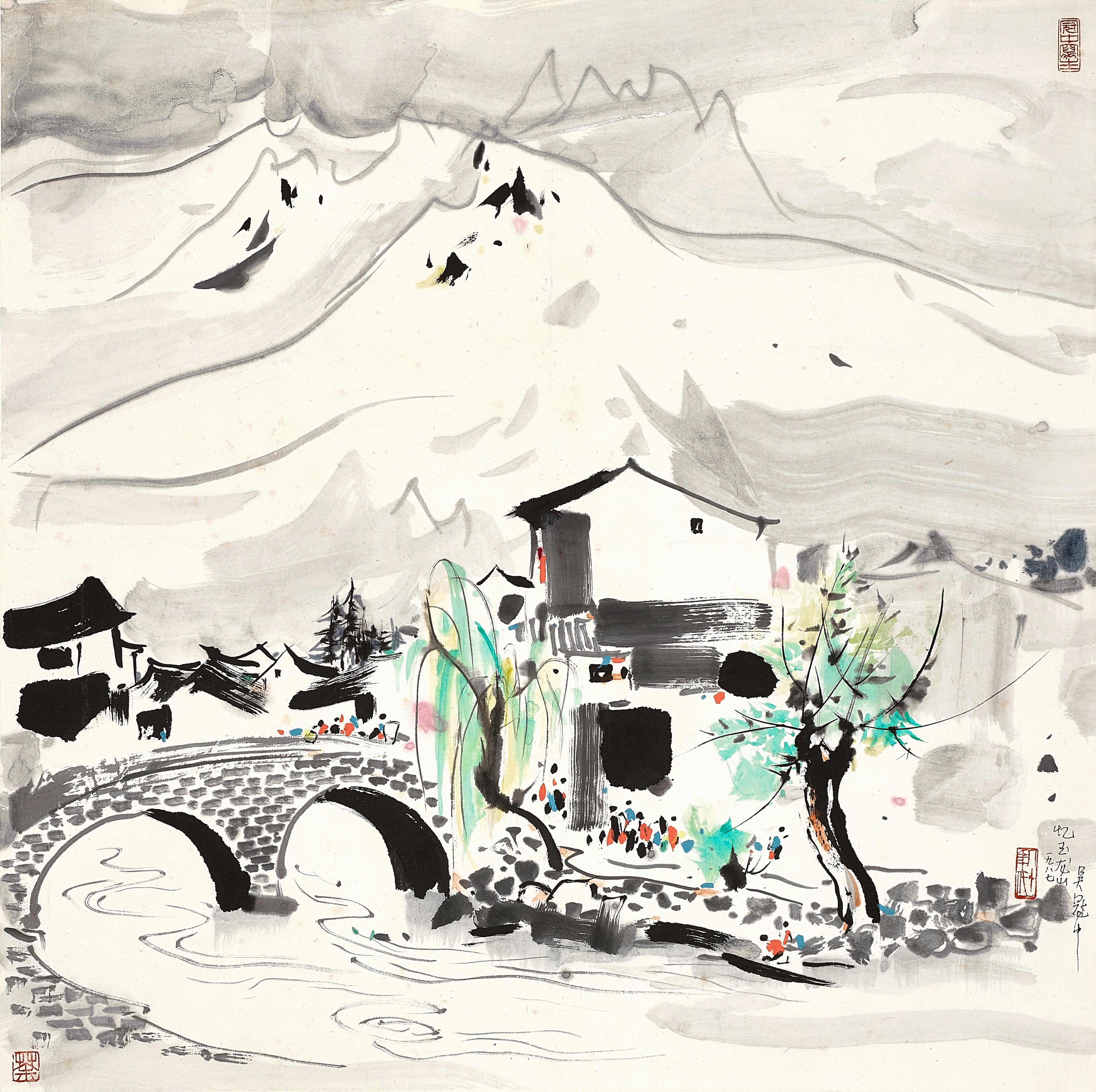 View full screen - View 1 of Lot 3029. 吳冠中 Wu Guanzhong   憶玉龍山 Memories of Mount Yulong.