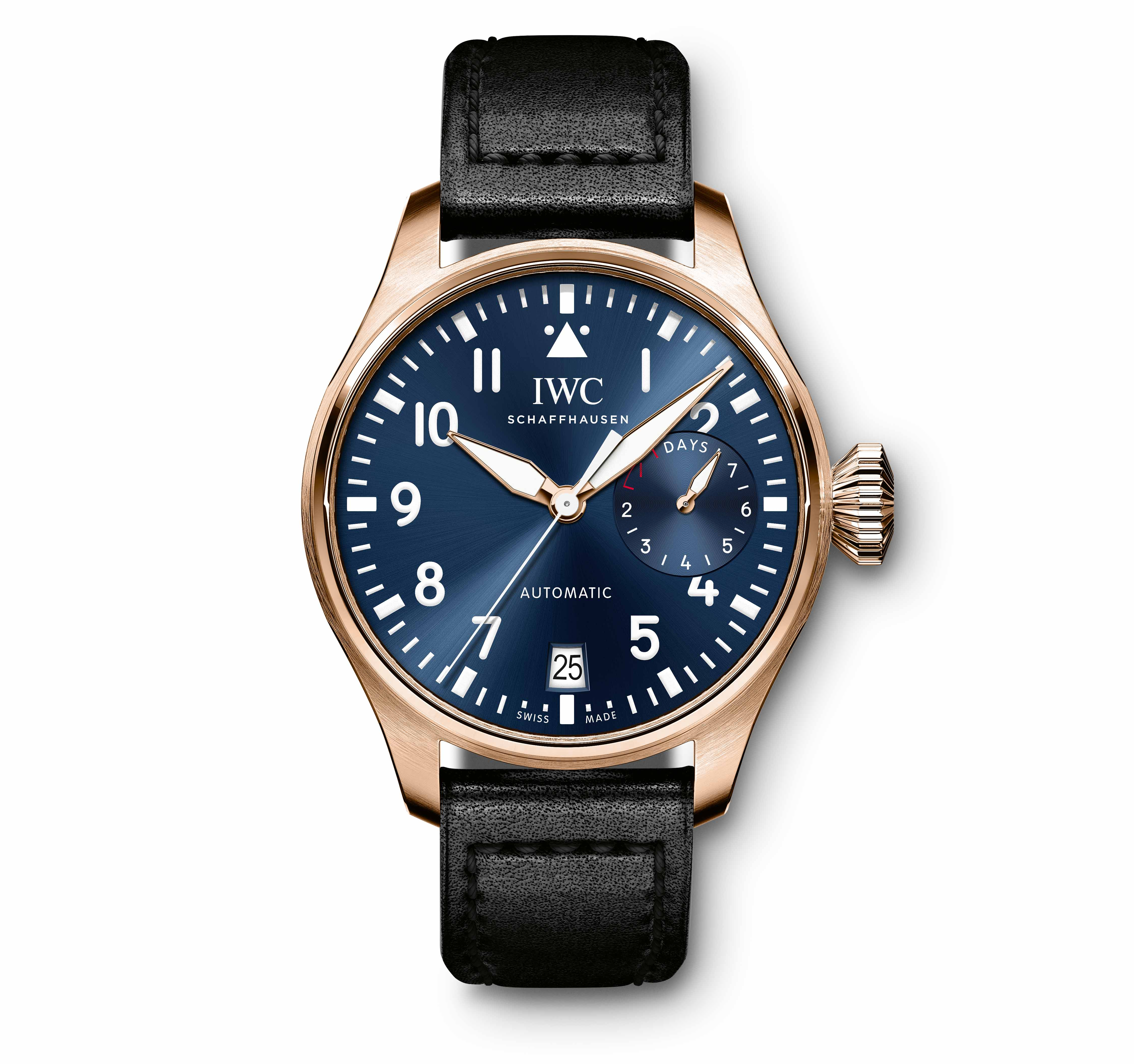 View full screen - View 1 of Lot 1. IWC SCHAFFHAUSEN    BIG PILOT, REF IW500923 single piece 5N gold wristwatch with date, power reserve and special engraving,  was worn by Bradley Cooper at the 91st Academy Awards®.