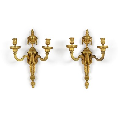 A PAIR OF LOUIS XVI GILT BRONZE TWO-LIGHT WALL LIGHTS IN THE MANNER OF JEAN-CHARLES DELAFOSSE, CIRCA 1775