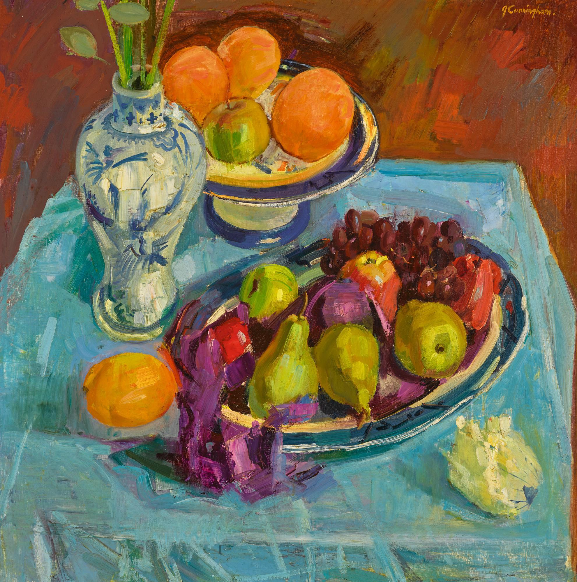 JOHN CUNNINGHAM, R.G.I.   STILL LIFE WITH FRUIT