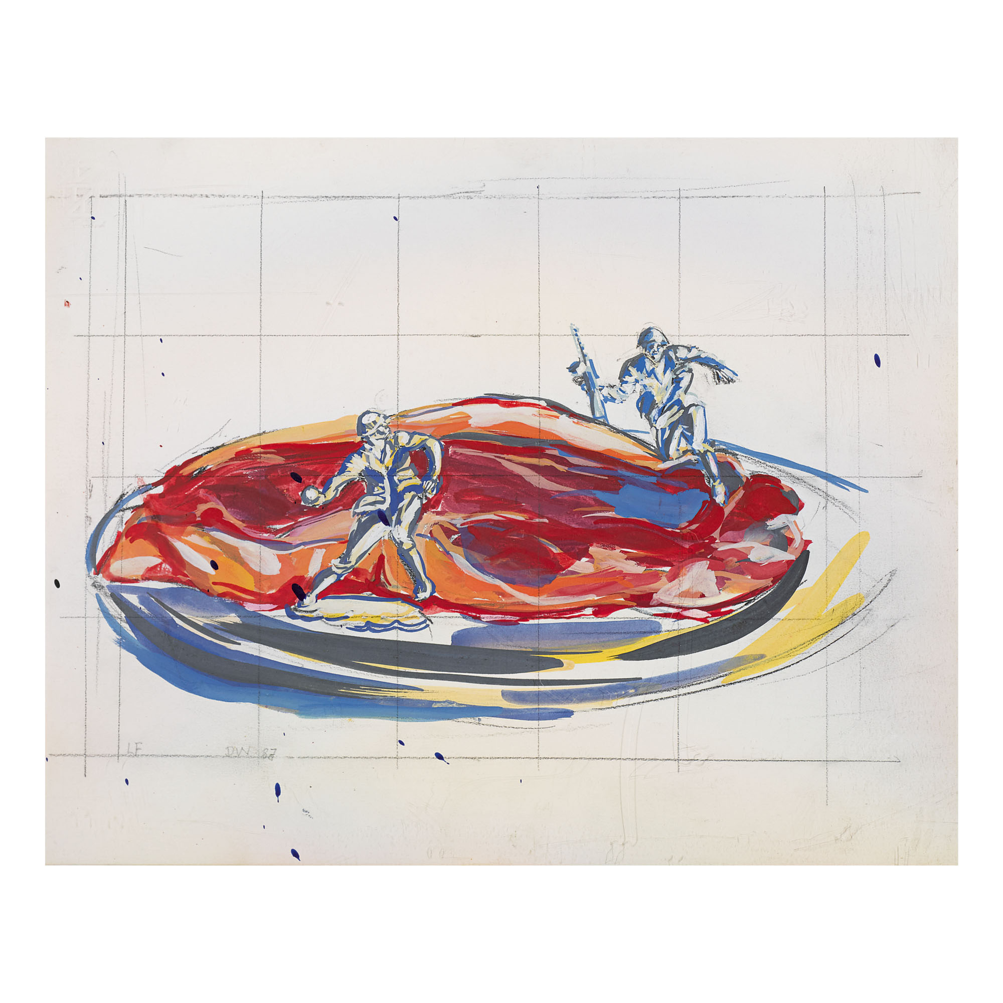 DAVID WOJNAROWICZ & LUIS FRANGELLA | UNTITLED (STEAK ON A PLATE WITH WARRIORS)