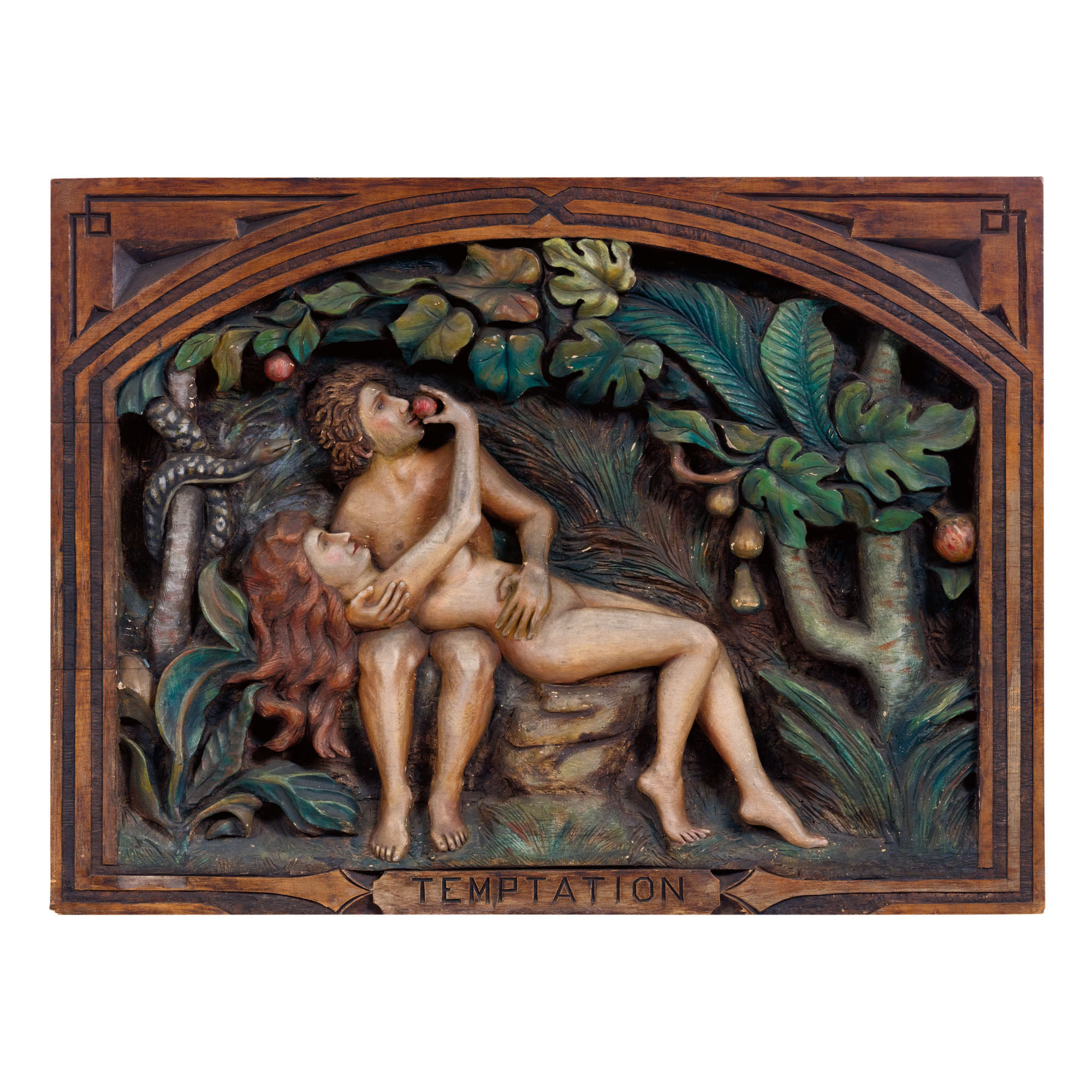 VERY FINE AND RARE CARVED AND POLYCHROME PAINT-DECORATED WOODEN PANEL OF TEMPTATION, HENRI (HENRY) BERNHARDT (B. 1870), SPARTANBURG, SOUTH CAROLINA, CIRCA 1935