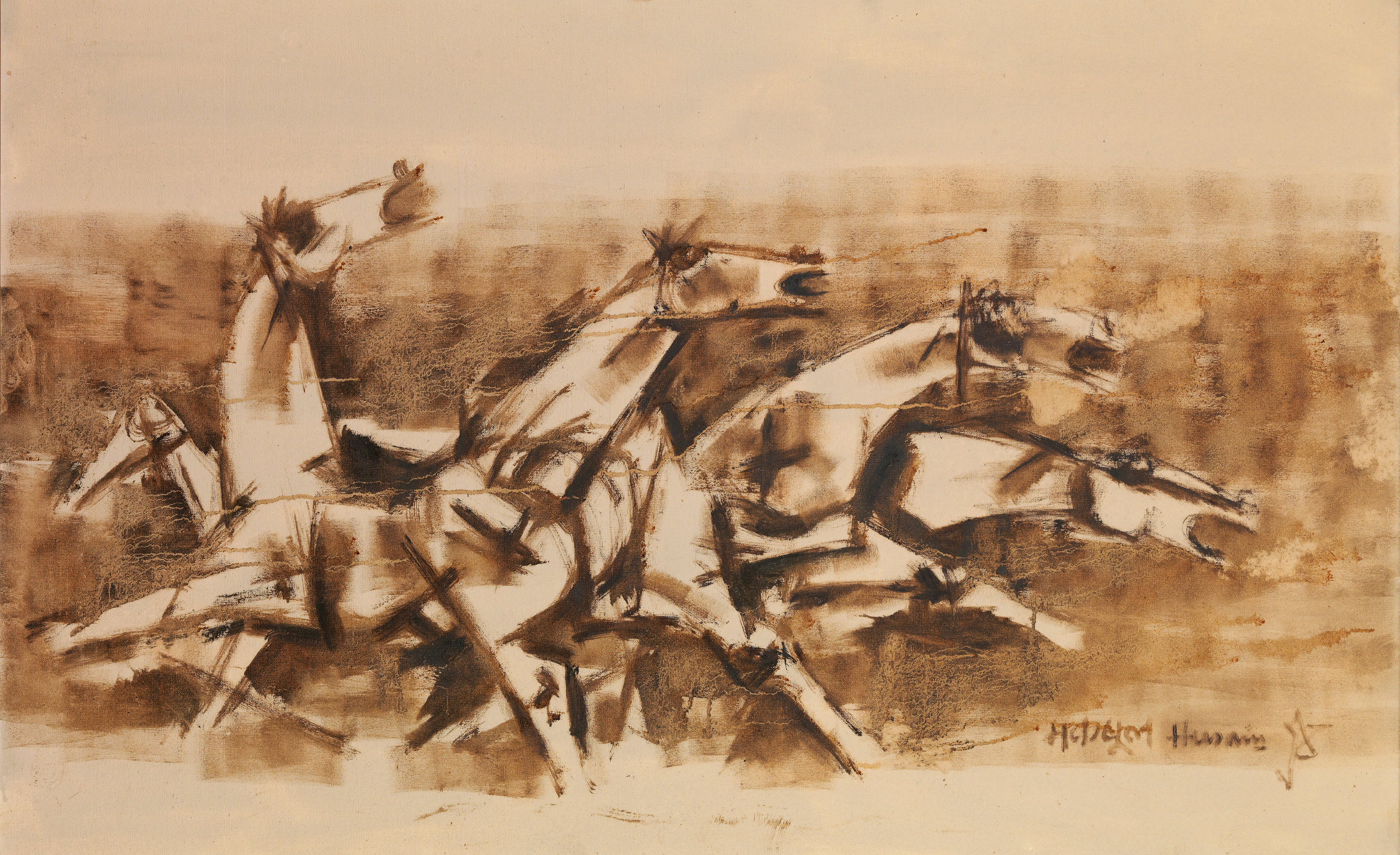 View full screen - View 1 of Lot 110. MAQBOOL FIDA HUSAIN | Untitled (Horses).