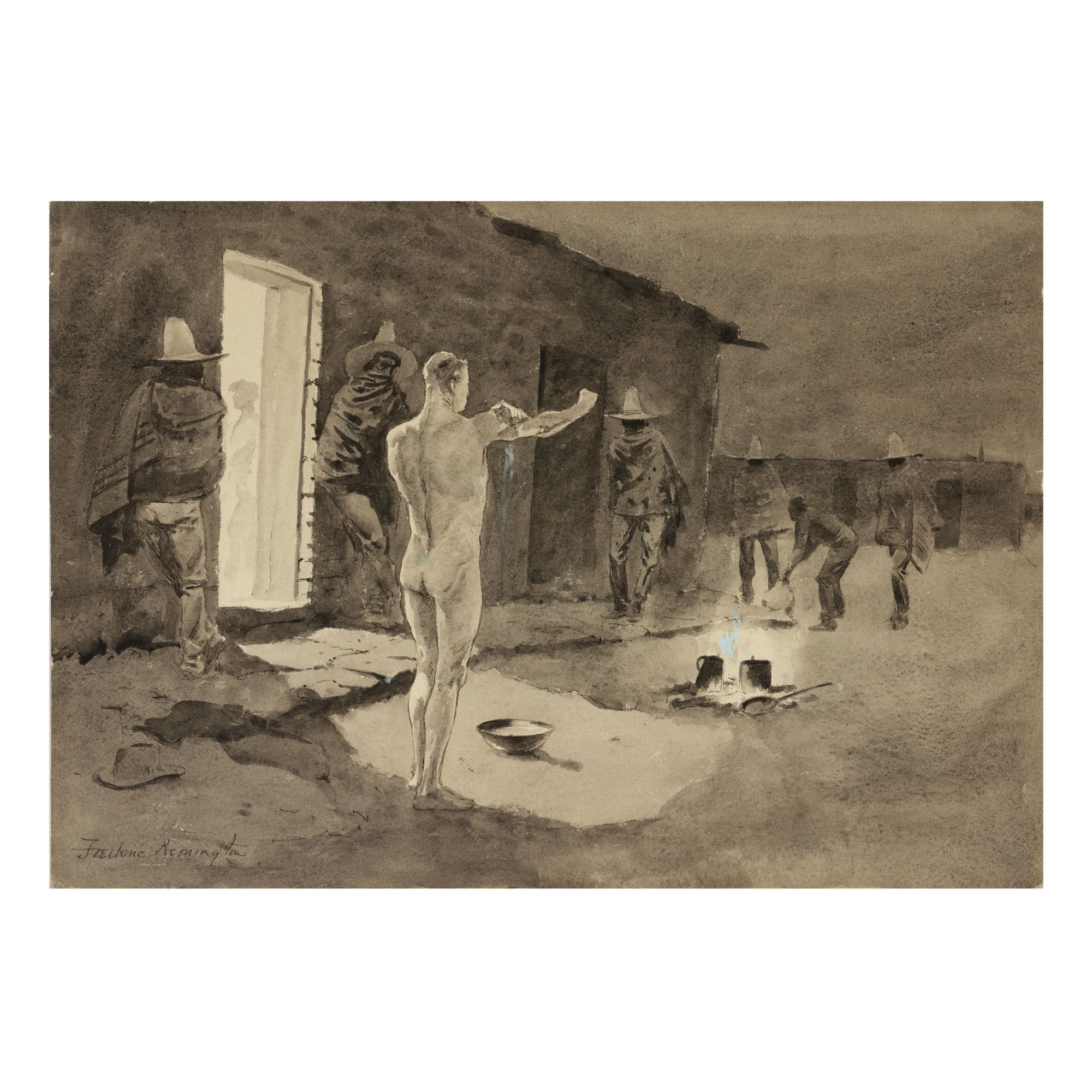 FREDERIC REMINGTON | AN EARLY MORNING BATH (A CURIOUS CUSTOM IN MEXICO)