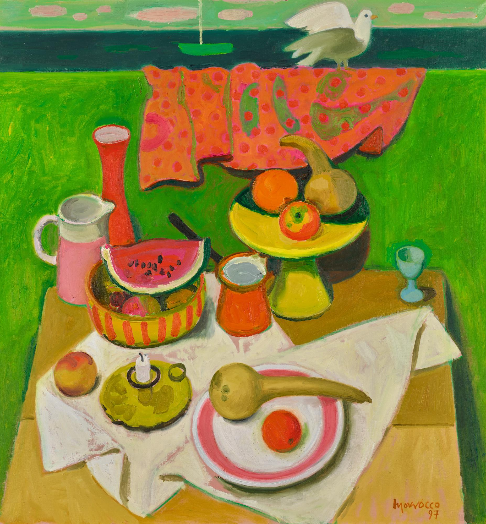 ALBERTO MORROCCO, R.S.A., R.S.W. | STILL LIFE BY THE SEA