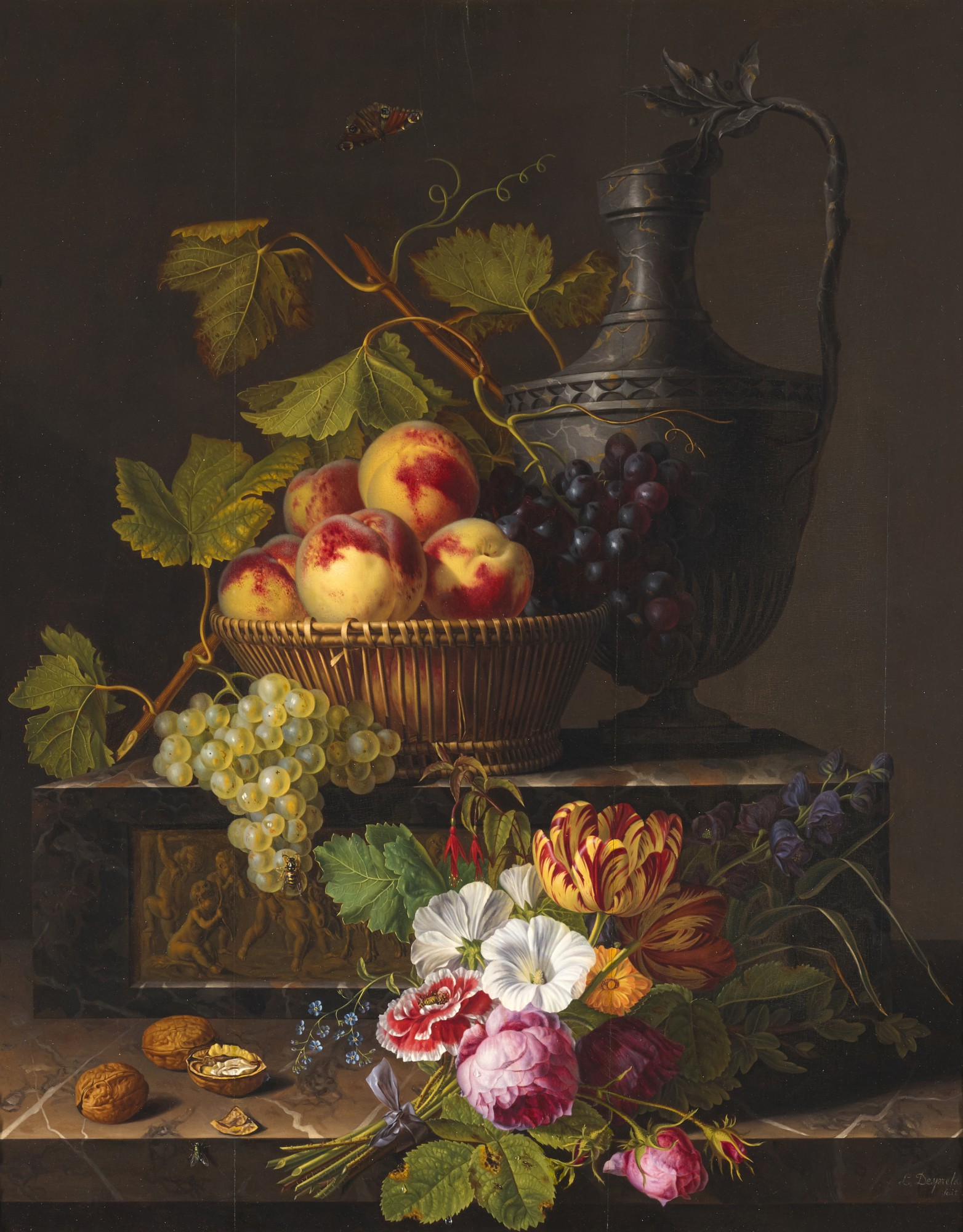 L. DESPRETS FRENCH, 19TH CENTURY | Still life with peaches, grapes, flowers and walnuts