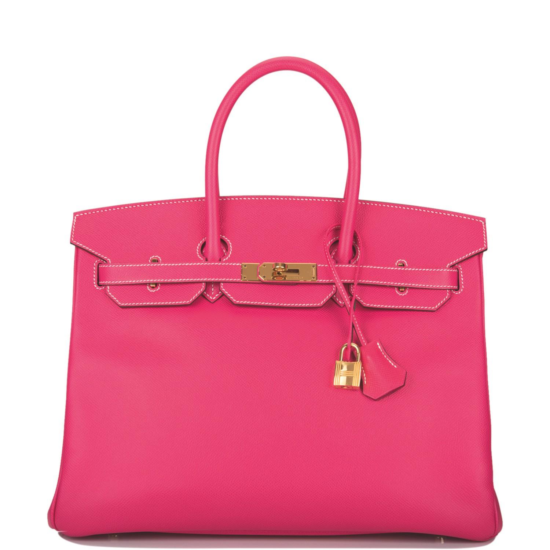 Hermès Rose Tyrien Birkin 35cm of Epsom Leather with Gold Hardware