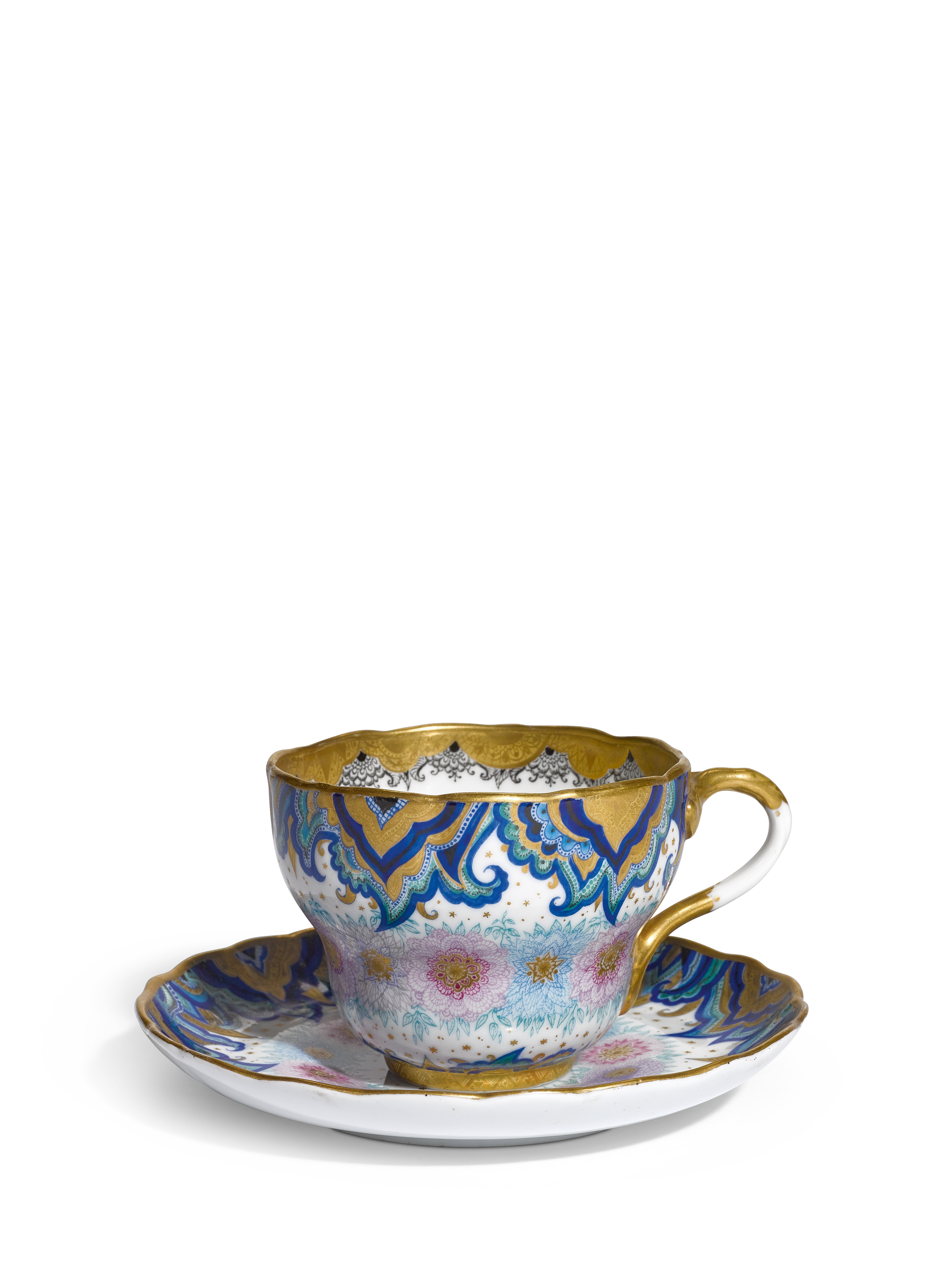 View full screen - View 1 of Lot 362. Arabesque and wreath: A Soviet porcelain cup and saucer, Lomonosov Porcelain Factory, Leningrad, 1934.
