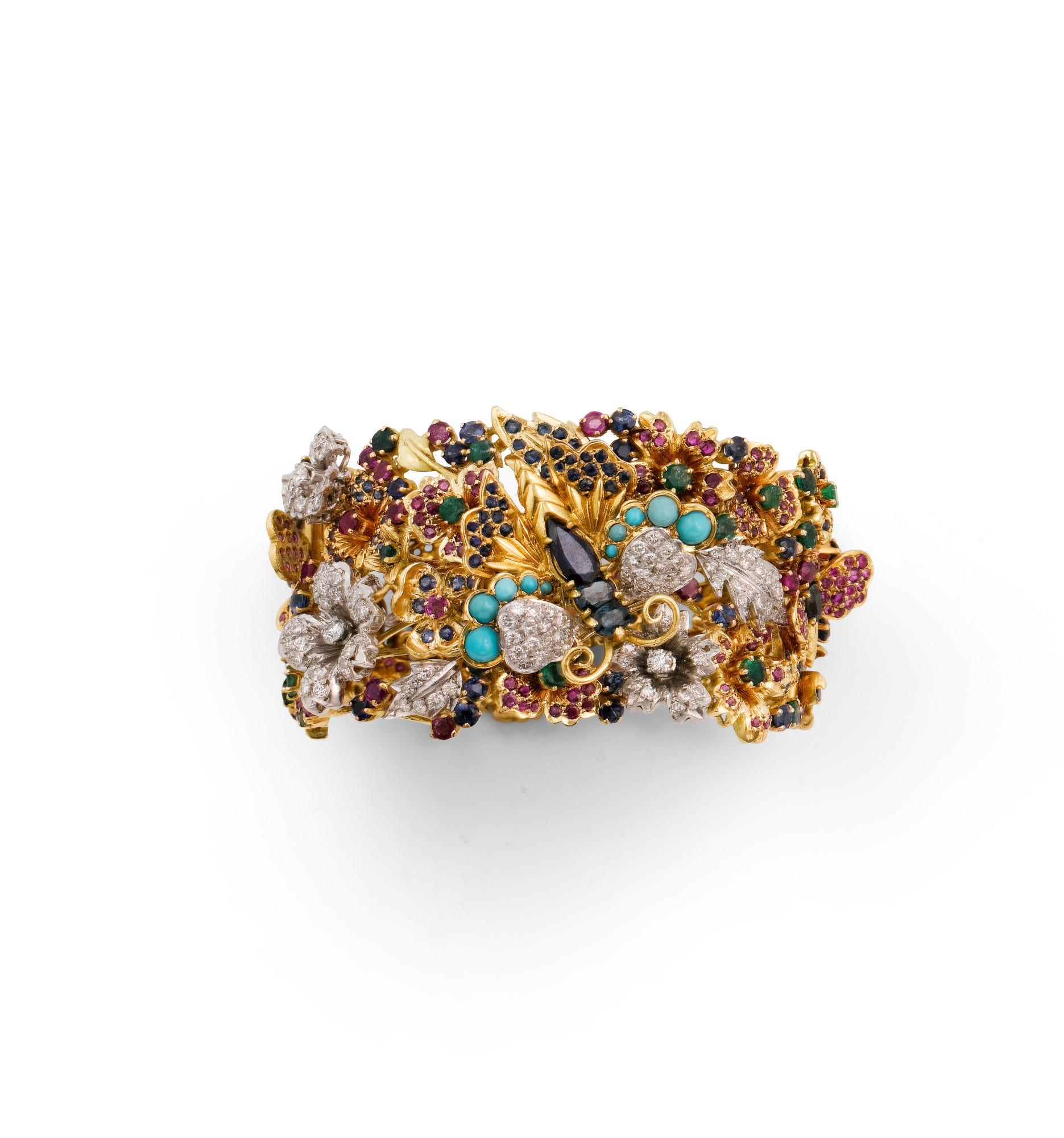Gem-set and diamond bracelet [Manchette pierres de couleur et diamants]