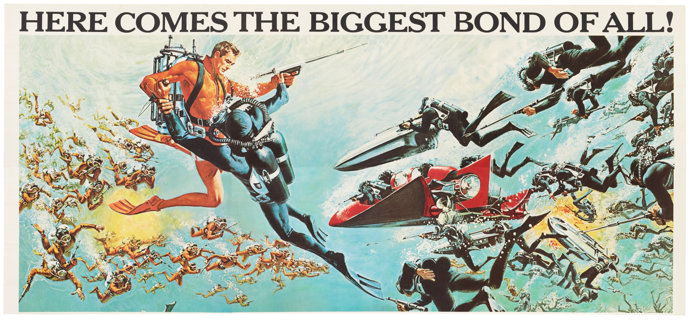 THUNDERBALL (1965) US, PARTIAL BILLBOARD POSTER (ACCOMPANIED BY A FRAMED LOBBY CARD SIGNED BY SEAN CONNERY.)