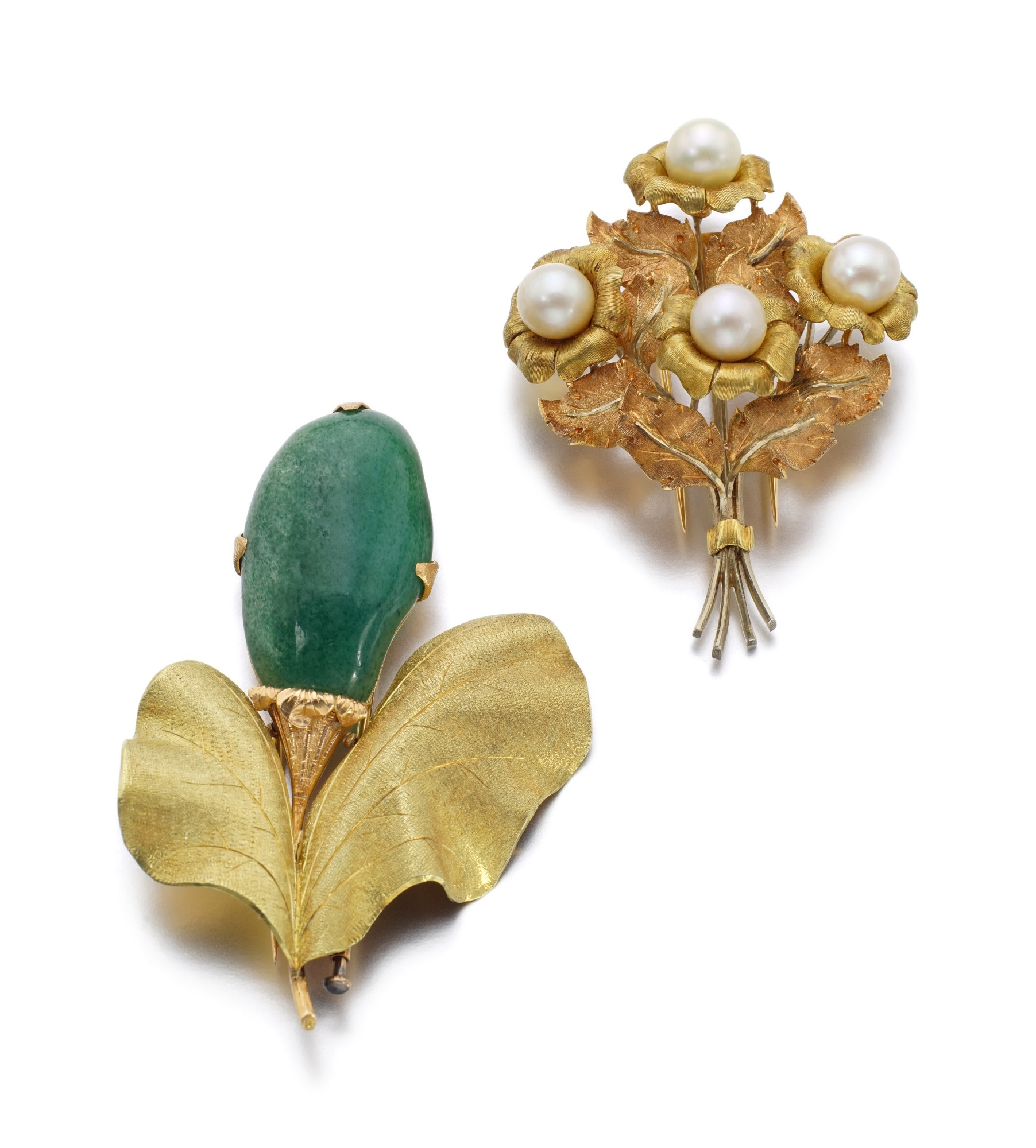 TWO GOLD AND GEM SET BROOCHES   BUCCELLATI