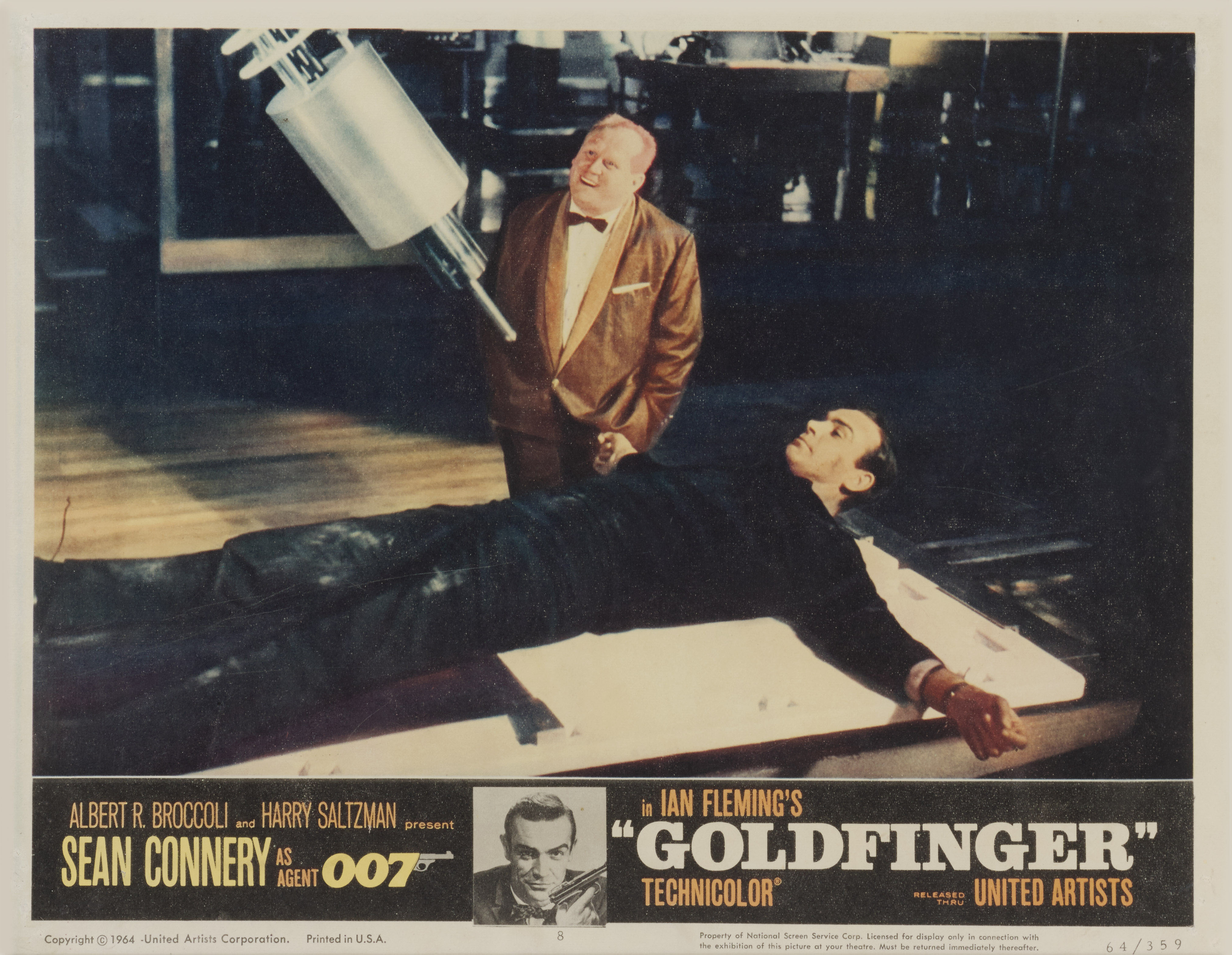 View full screen - View 1 of Lot 157. Goldfinger (1964), US, Lobby card number 8 .