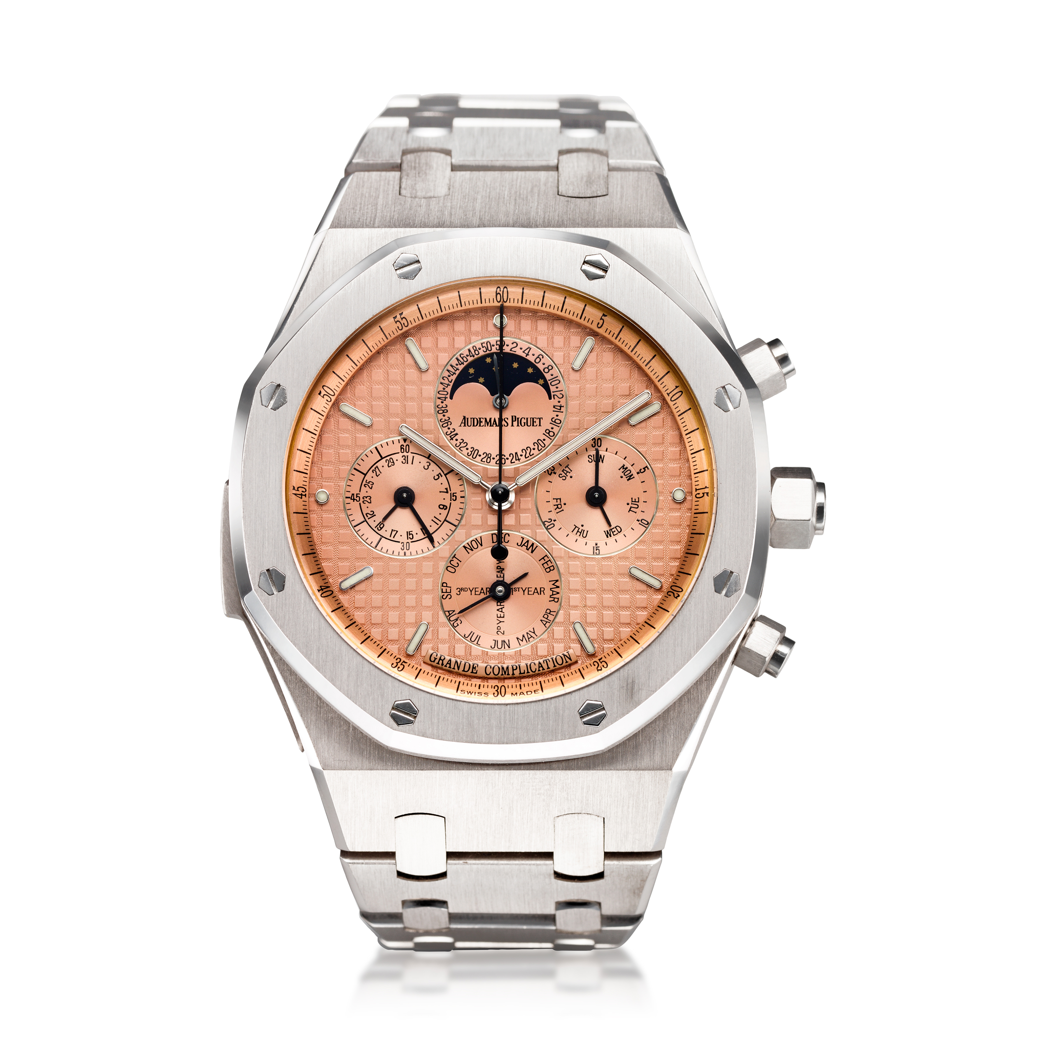 View full screen - View 1 of Lot 113. REFERENCE 25865BC.OO.1105BC.01ROYAL OAK GRAND COMPLICATION AN IMPRESSIVE AND HEAVY WHITE GOLD AUTOMATIC MINUTE REPEATING PERPETUAL CALENDAR SPLIT SECONDS CHRONOGRAPH WRISTWATCH WITH BRACELET, MOON PHASES AND LEAP YEAR INDICATION, CIRCA 2004.