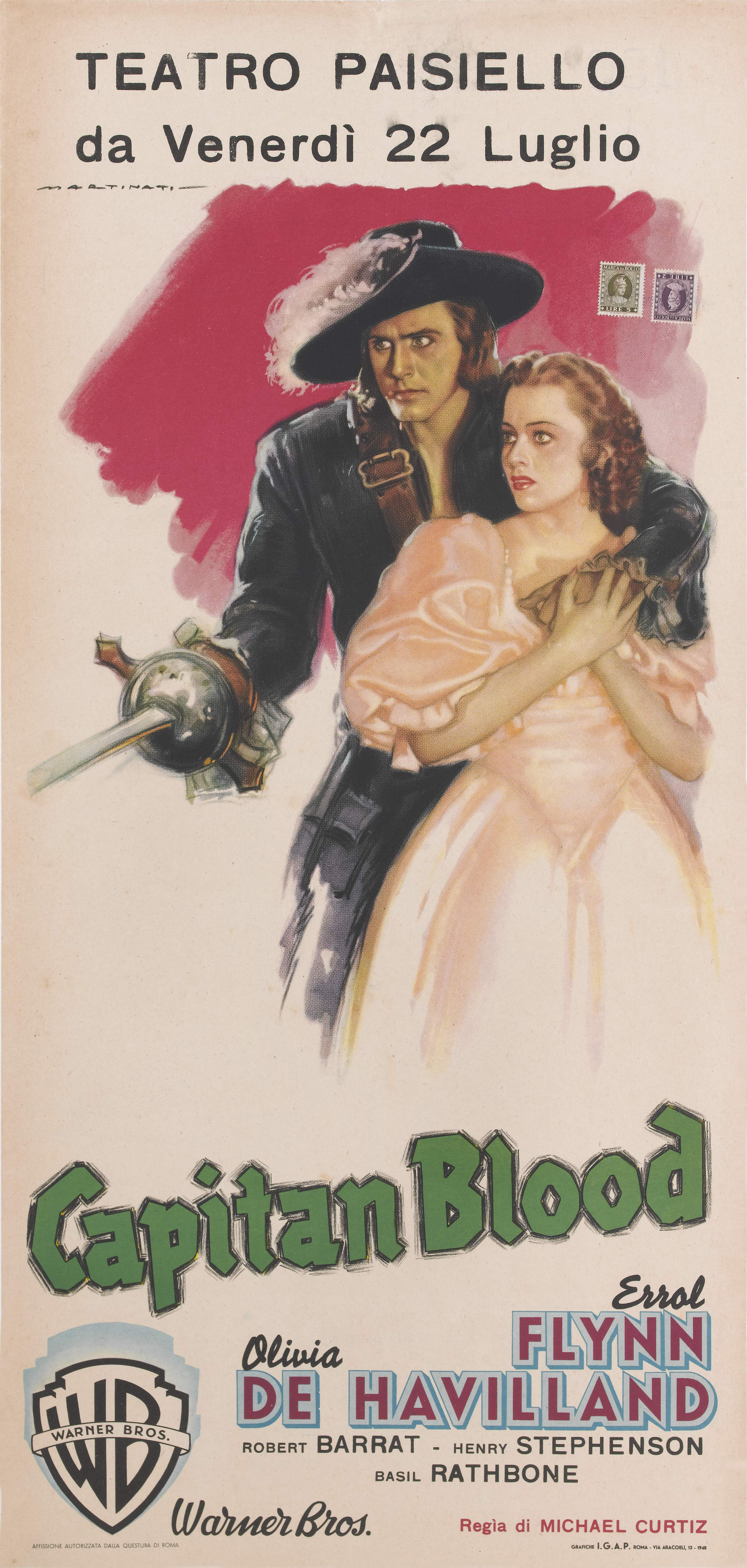 View full screen - View 1 of Lot 51. Captain Blood / Capitan Blood (1935) Poster, Italian, Re-release 1948 .