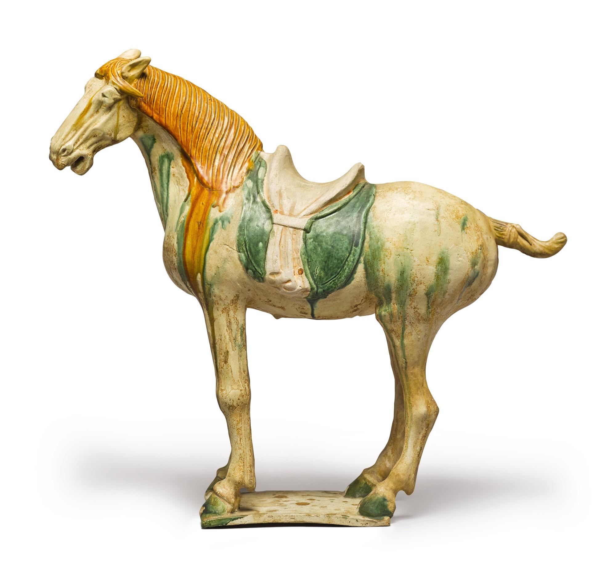 A SANCAI-GLAZED POTTERY FIGURE OF A HORSE, TANG DYNASTY | The ...