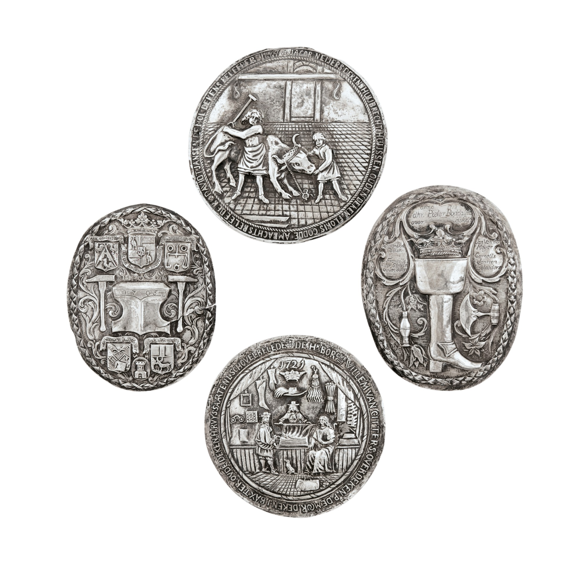 FOUR DUTCH SILVER GUILD SHIELDS, UNMARKED, 1665-1725 [QUATRE PLAQUES DE CORPORATION EN ARGENT, NON POINÇONNÉES, HOLLANDE, 1665-1725]