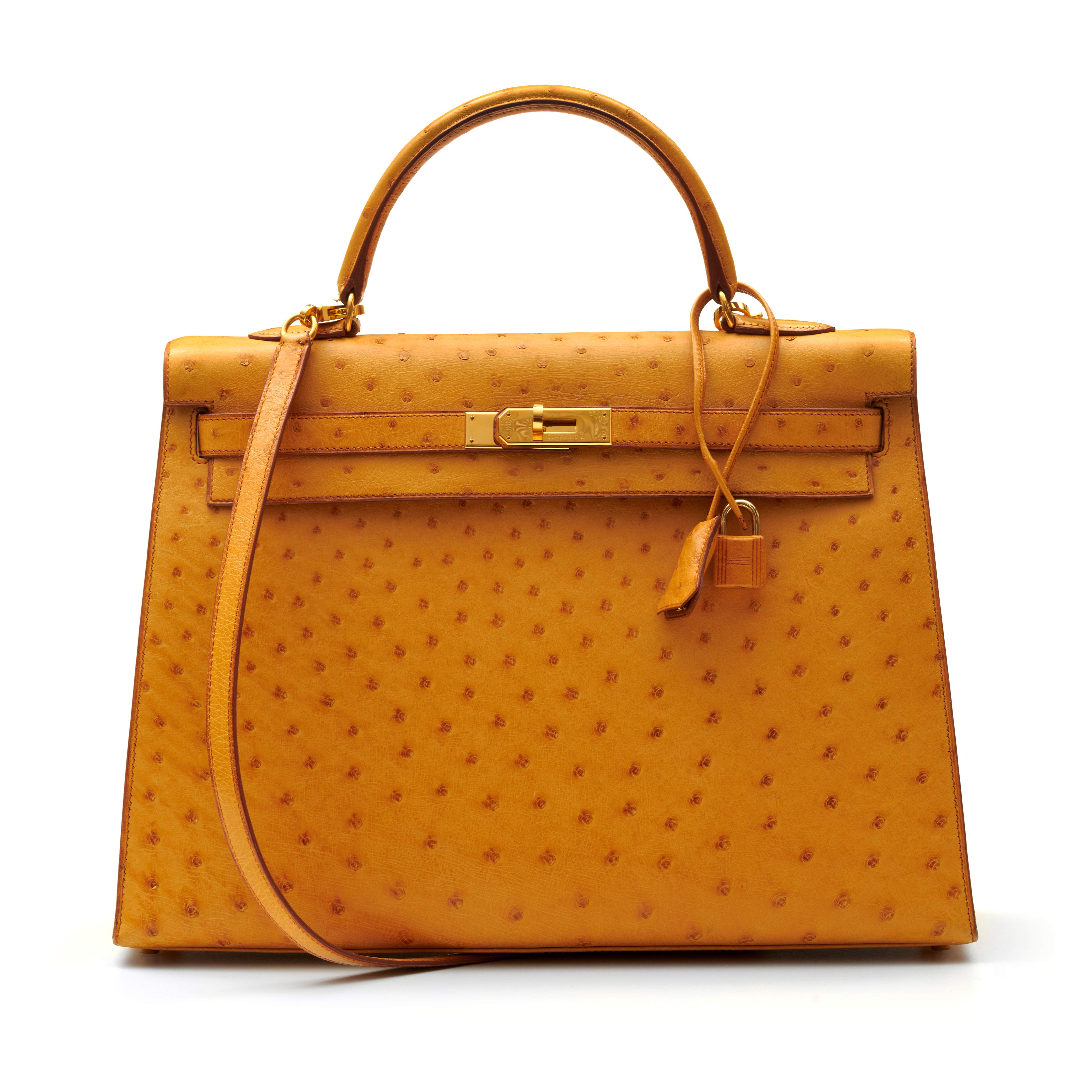 View full screen - View 1 of Lot 315. Saffron Sellier Kelly 35 in Ostrich Leather with Gold Hardware, 1996.