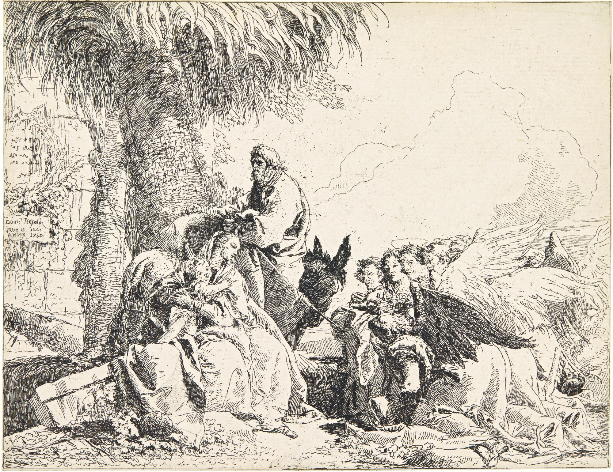GIOVANNI DOMENICO TIEPOLO | REST ON THE FLIGHT INTO EGYPT; THE HOLY FAMILY; AND THE ENTOMBMENT (DE VESME 12, 13, 48; RIZZI 79, 80, 54)