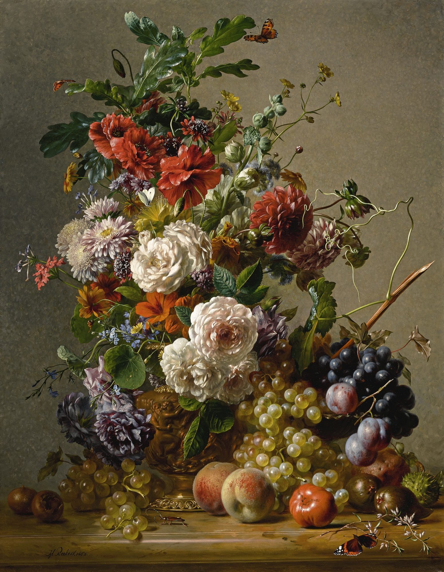 Hendrik Reekers | DAHLIAS, NASTURTIUMS, ROSES AND OTHER FLOWERS IN A COPPER EWER WITH PLUMS, GRAPES AND PEACHES ON A MARBLE LEDGE