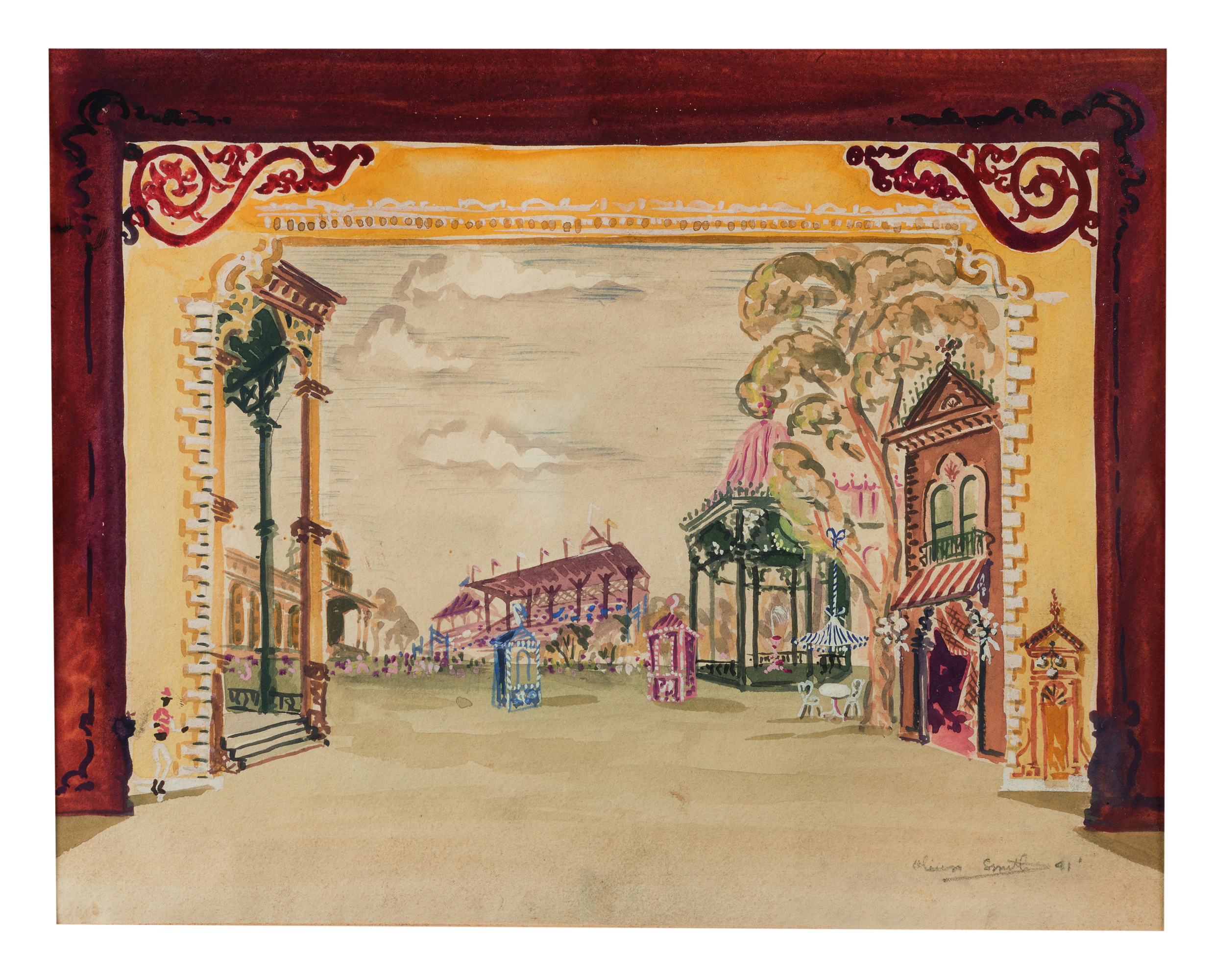 View full screen - View 1 of Lot 57. OLIVER SMITH | SET DESIGNS FOR SARATOGA (BALLET): A PAIR OF WORKS.