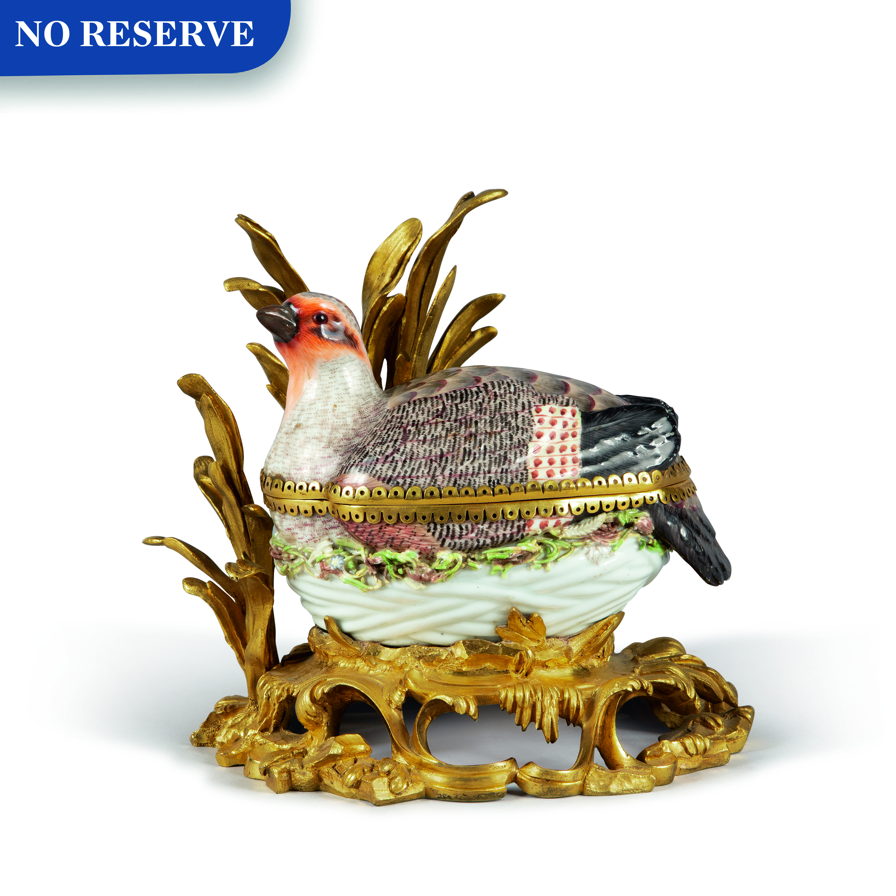 View full screen - View 1 of Lot 91. A MEISSEN PORCELAIN PARTRIDGE-FORM TUREEN AND COVER, MOUNTED ON A ROCOCO GILT BRONZE BASE, EARLY 19TH CENTURY.