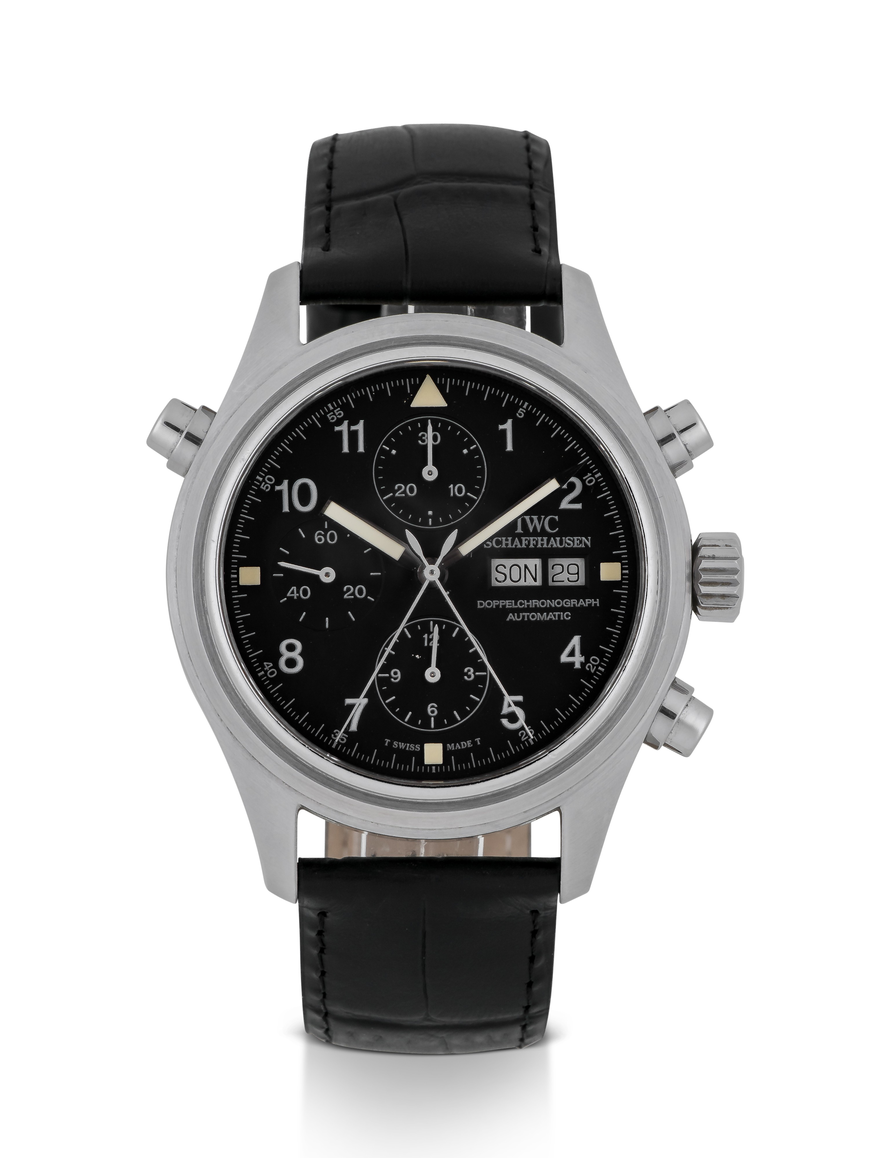 IWC | DOPPELCHRONOGRAPH, REF 3713 STAINLESS STEEL SPLIT-SECONDS CHRONOGRAPH WITH DAY AND DATE CIRCA 1999