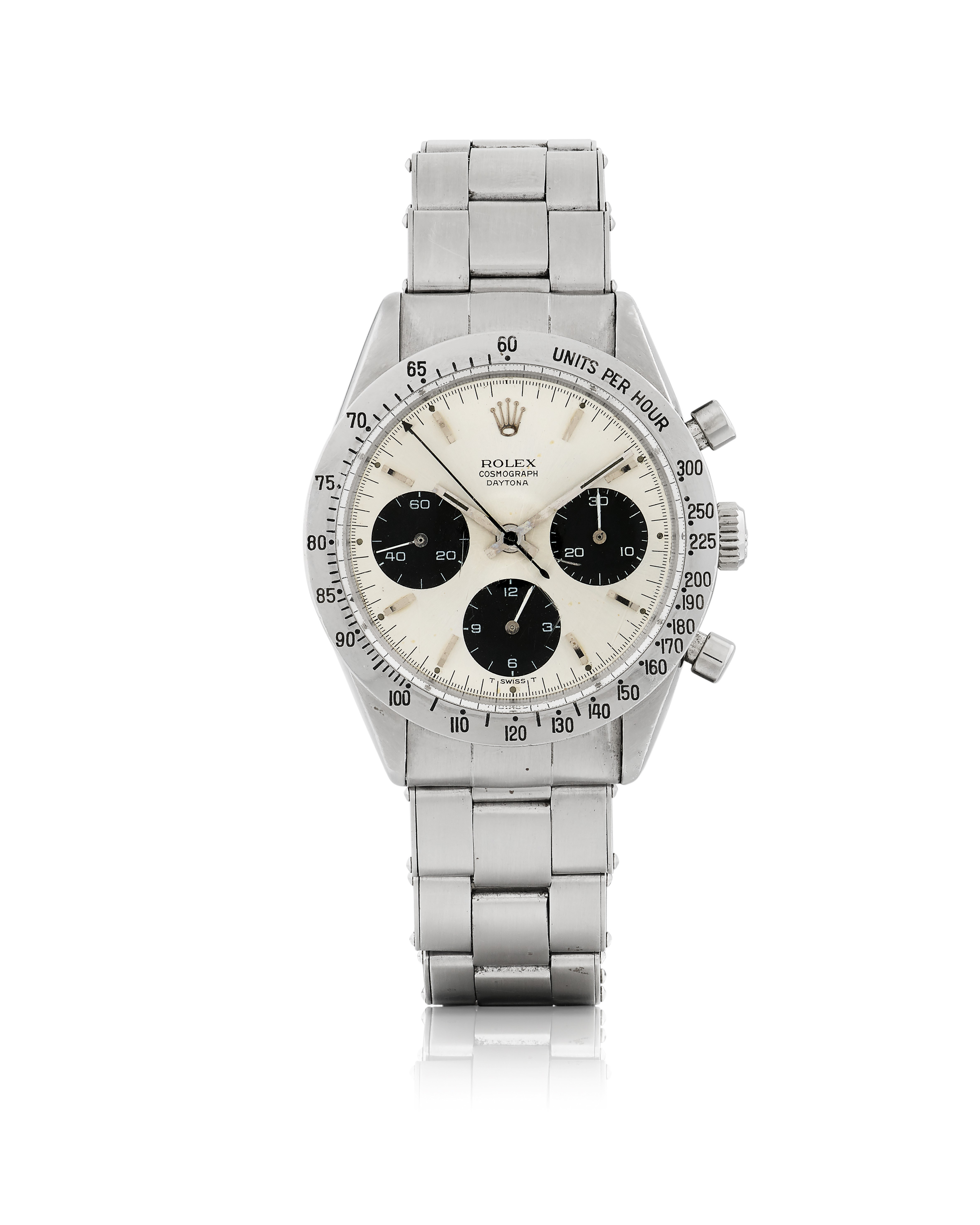 View full screen - View 1 of Lot 5. ROLEX | 'SMALL' DAYTONA, REF 6239 STAINLESS STEEL CHRONOGRAPH WRISTWATCH WITH BRACELET  CIRCA 1966.