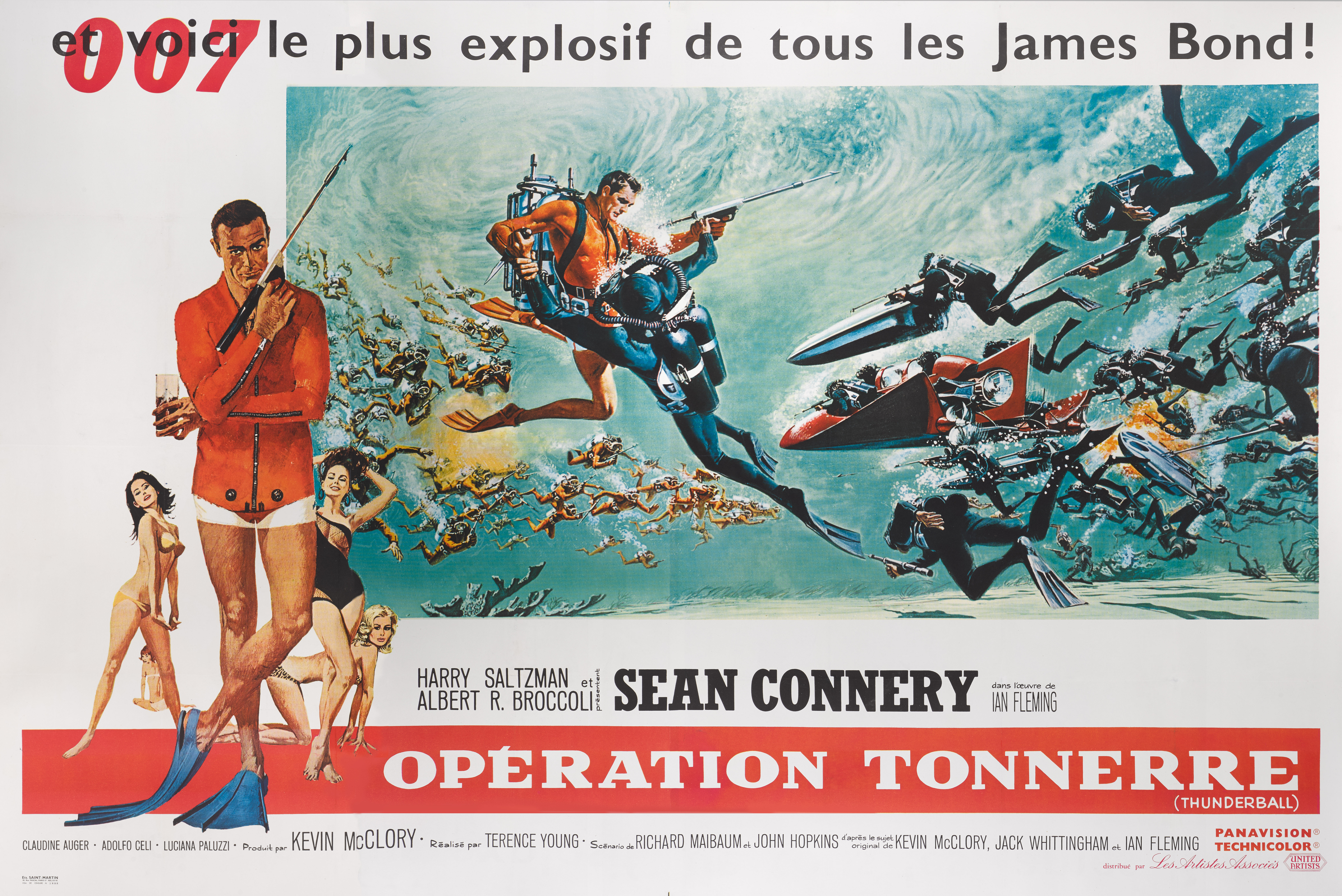 THUNDERBALL / OPÉRATION TONNERRE (1965) POSTER, FRENCH