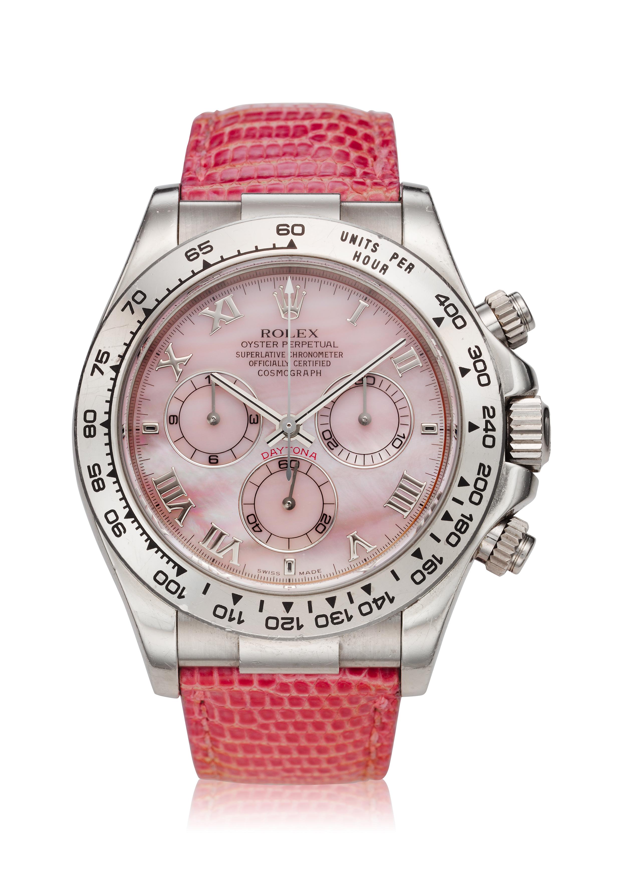 View full screen - View 1 of Lot 7. Reference 116519 'Daytona Beach'  A white gold automatic chronograph wristwatch, Circa 2000 .
