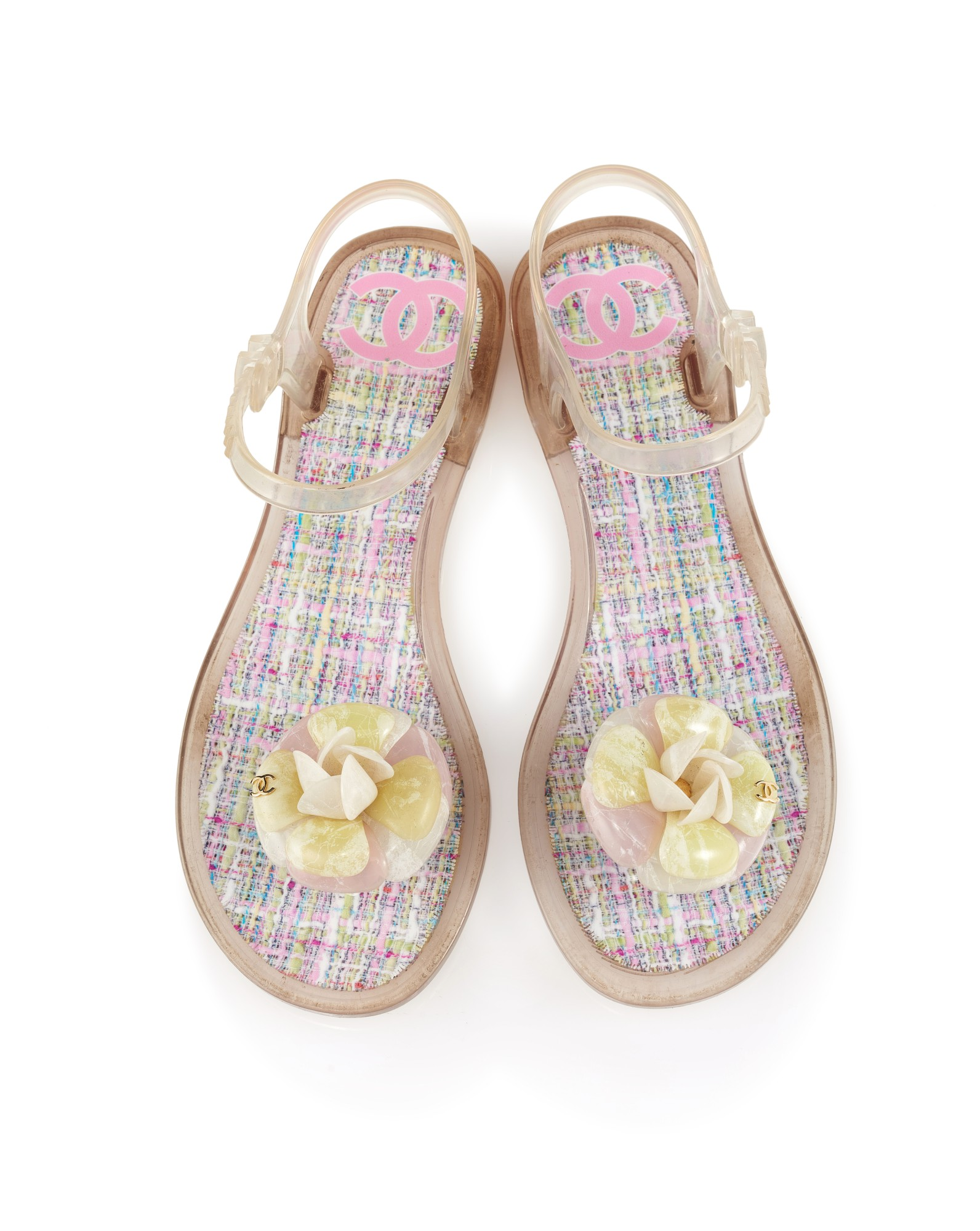 chanel pink jelly sandals