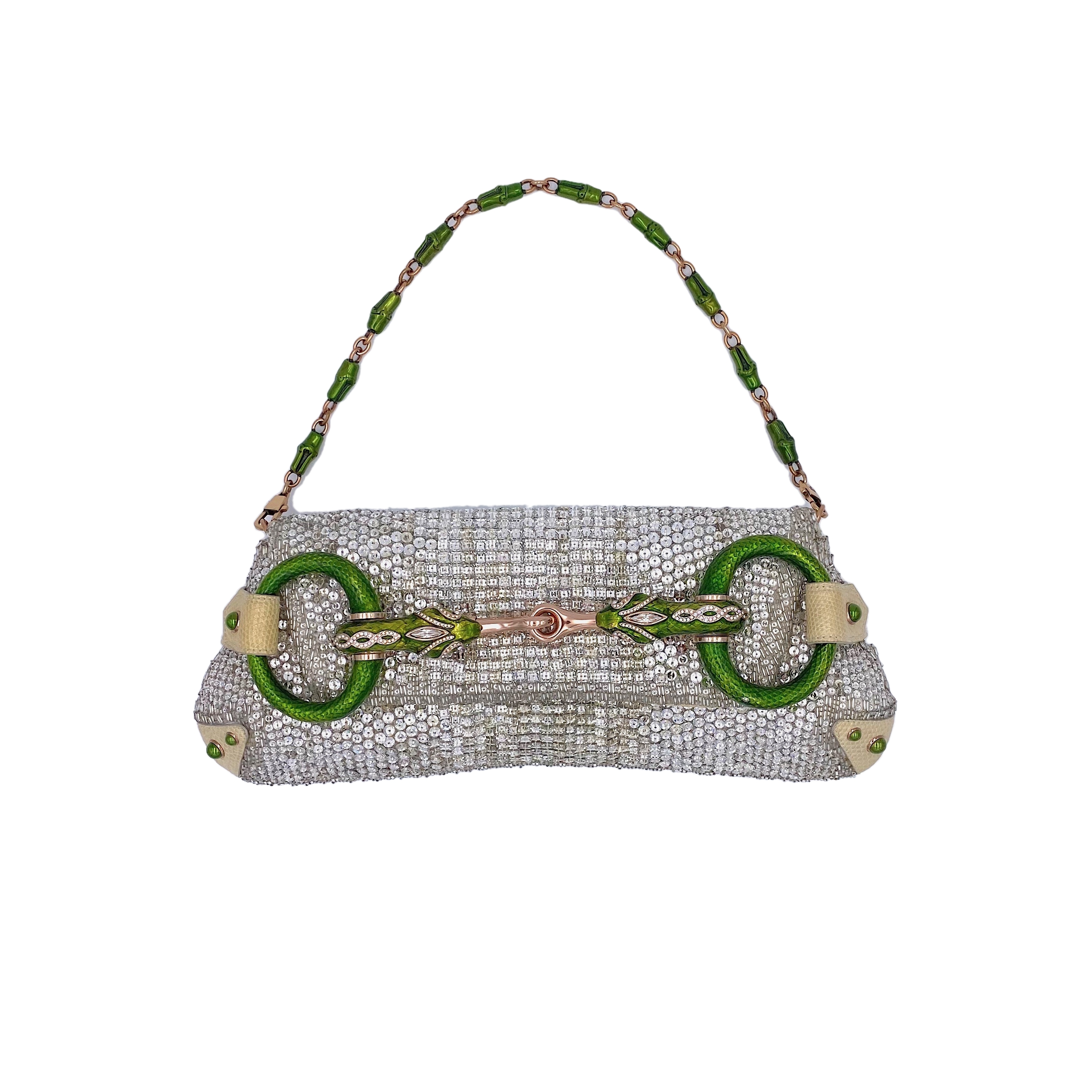 View full screen - View 1 of Lot 707. GUCCI   TOM FORD SERPENT HEAD CLUTCH BAG IN LIZARD WITH SWAROVSKI CRYSTALS.