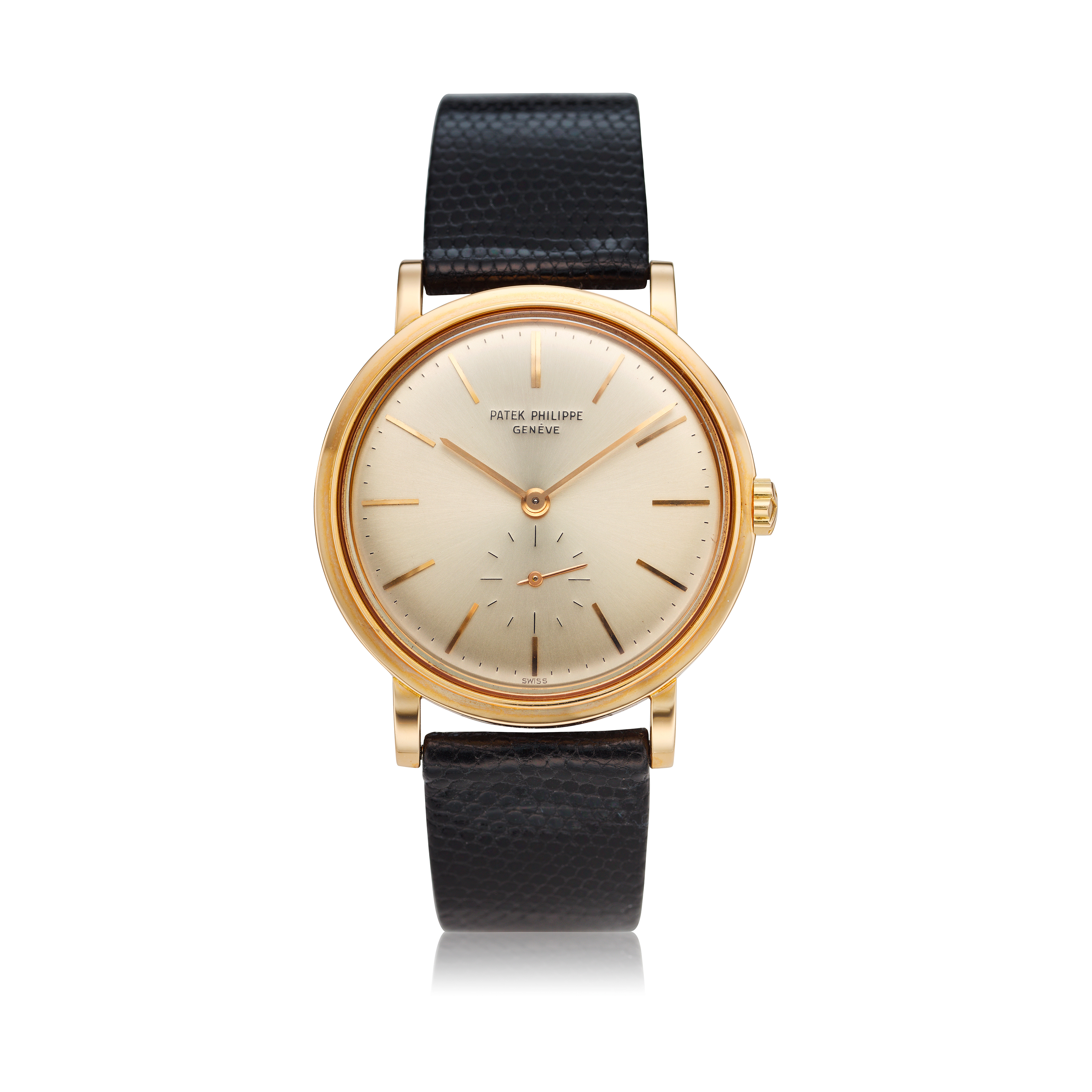 View full screen - View 1 of Lot 234. Reference 3429  A pink gold automatic wristwatch, Made in 1963.