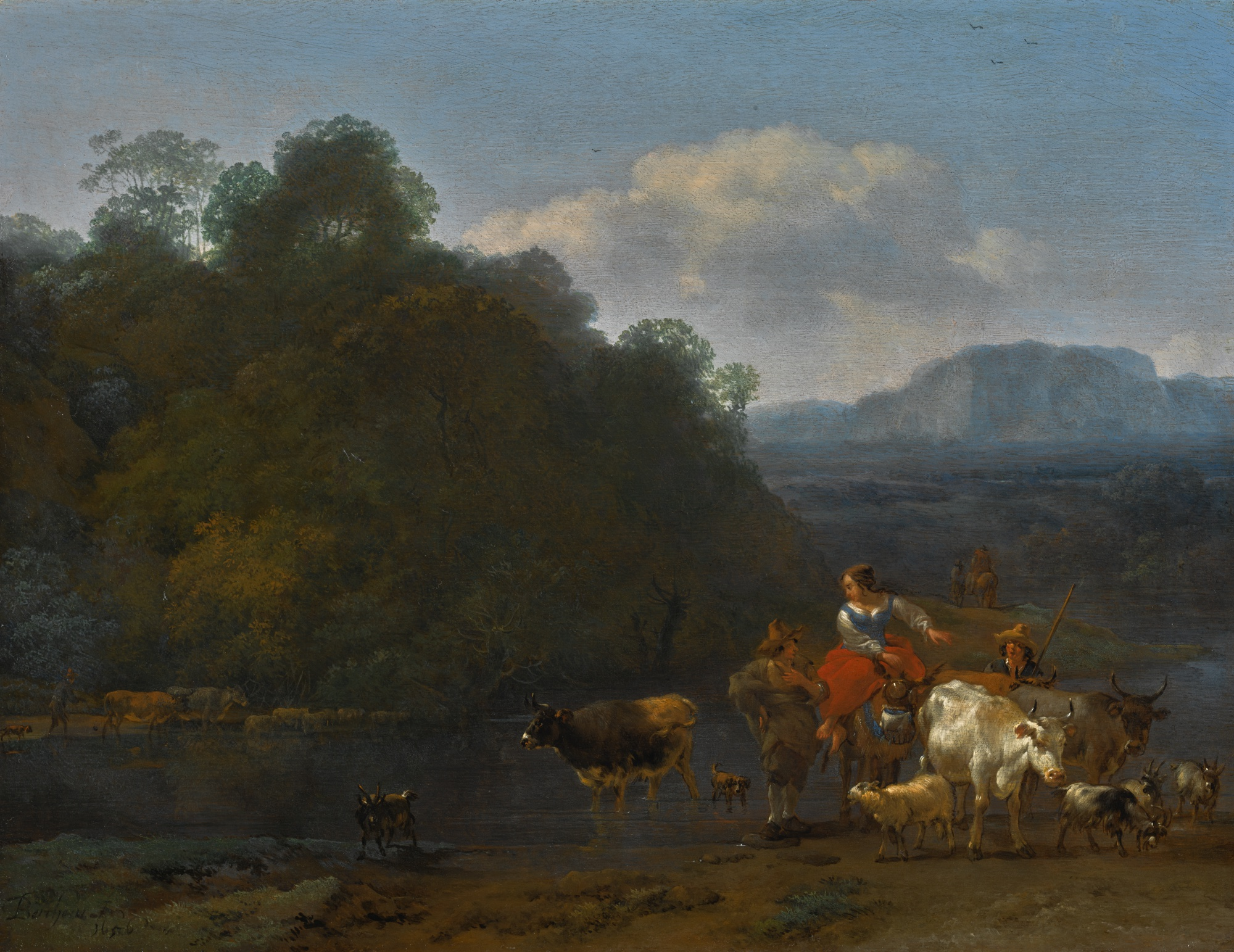 NICOLAES PIETERSZ. BERCHEM (Haarlem 1620 - 1683 Amsterdam) Southern landscape with shepherds and their animals fording a stream