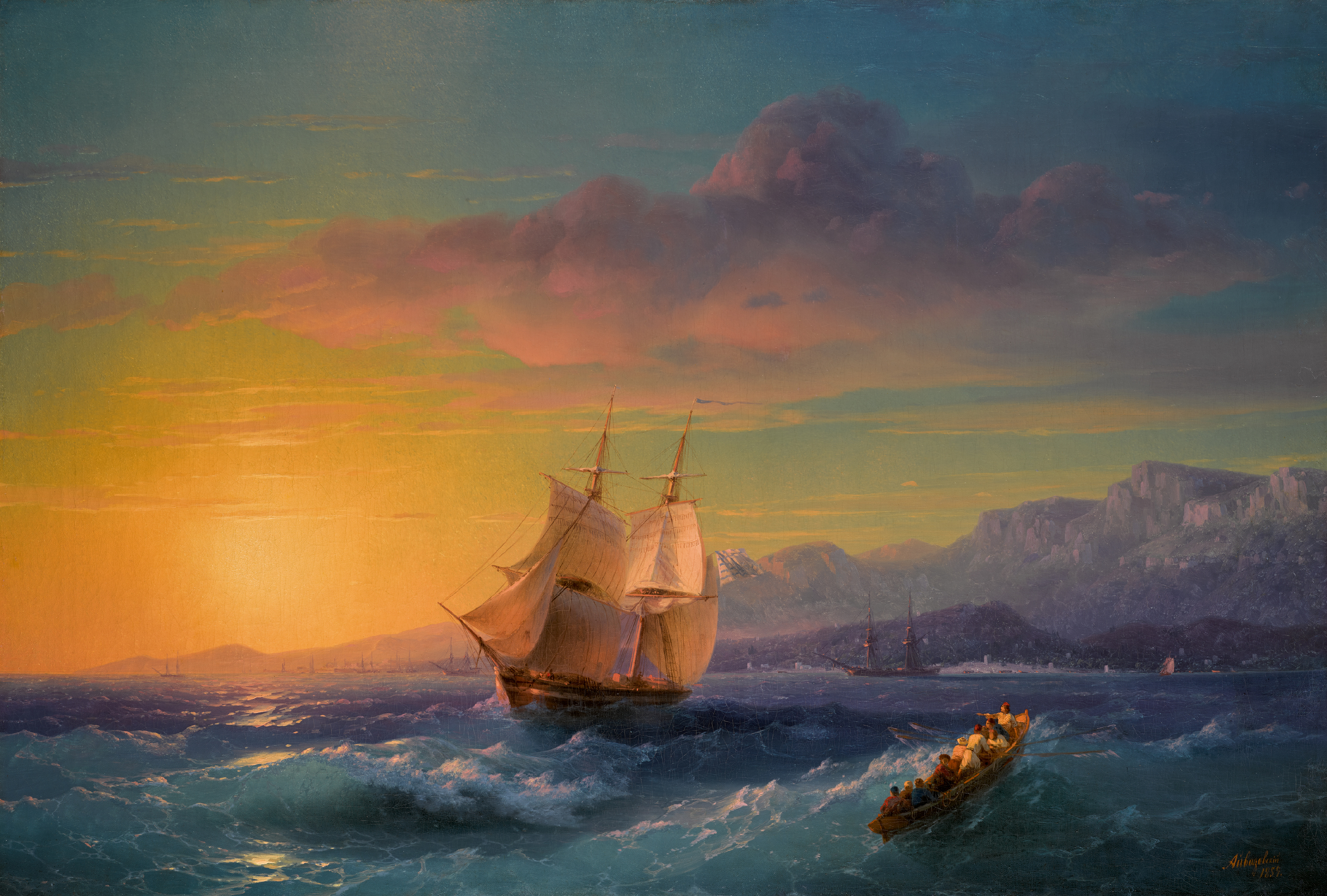 View full screen - View 1 of Lot 13. IVAN KONSTANTINOVICH AIVAZOVSKY |Ship at Sunset off Cap Martin.
