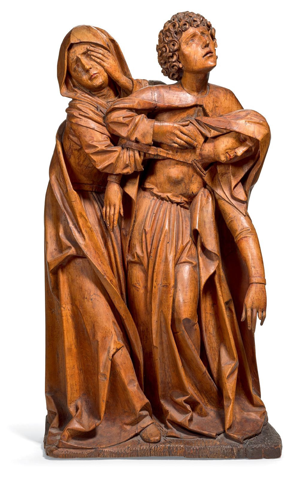 SOUTHERN GERMAN, PROBABLY FRANCONIA, EARLY 16TH CENTURY | THREE FIGURES FROM A CRUCIFIXION GROUP