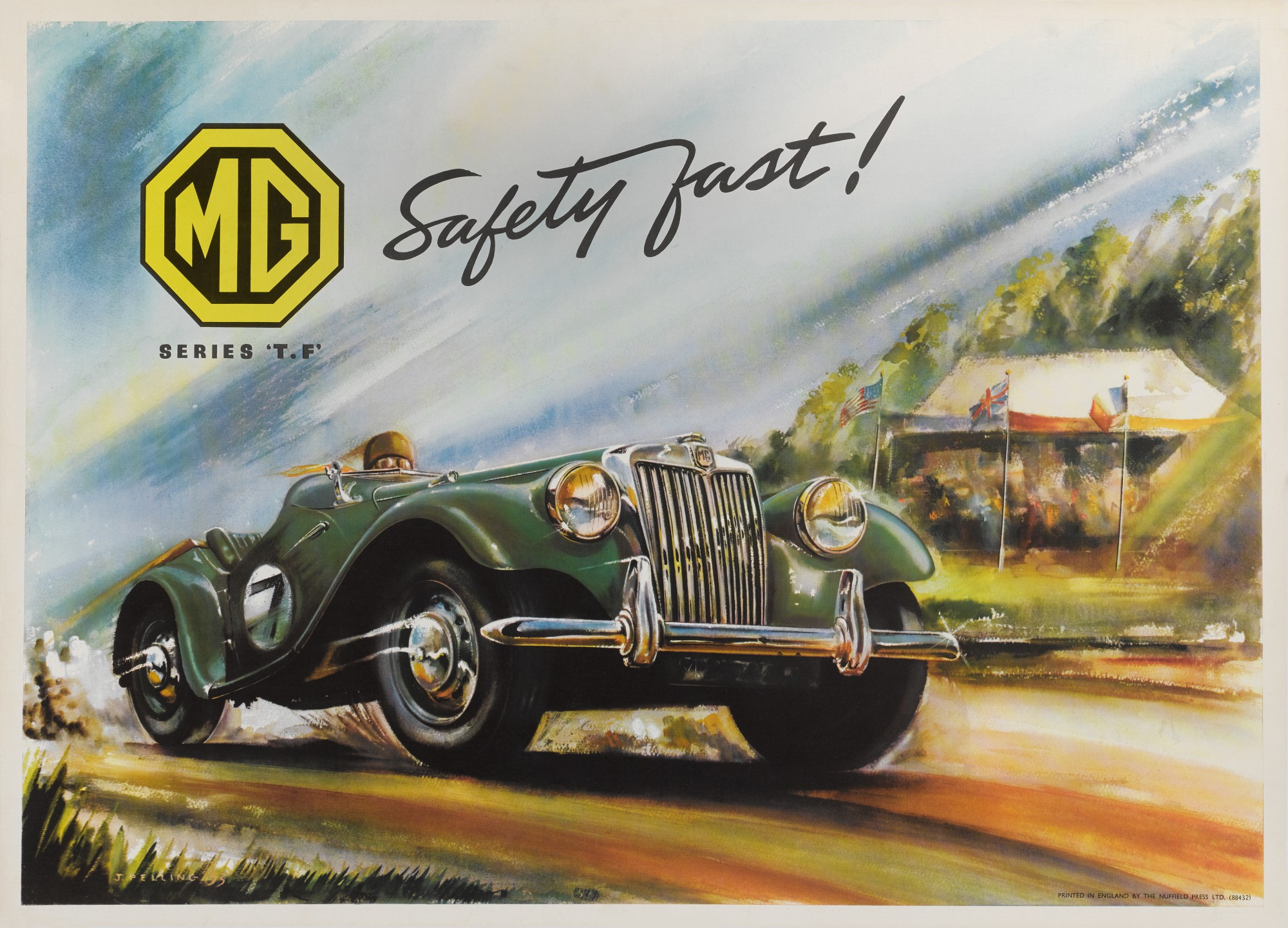 MG SERIES 'T.F' SAFETY FAST ! (1953) ADVERTISING POSTER, US