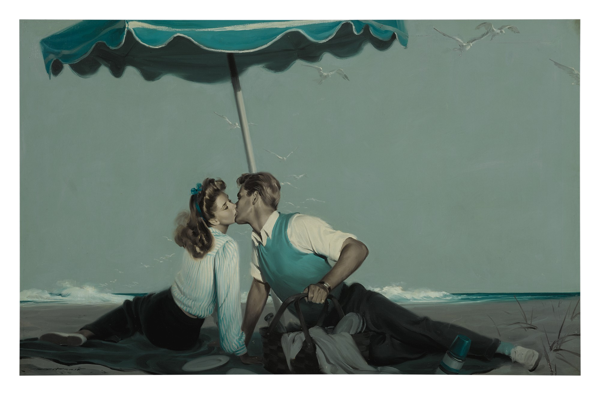 ROBERT G. HARRIS   LOVERS ON THE BEACH