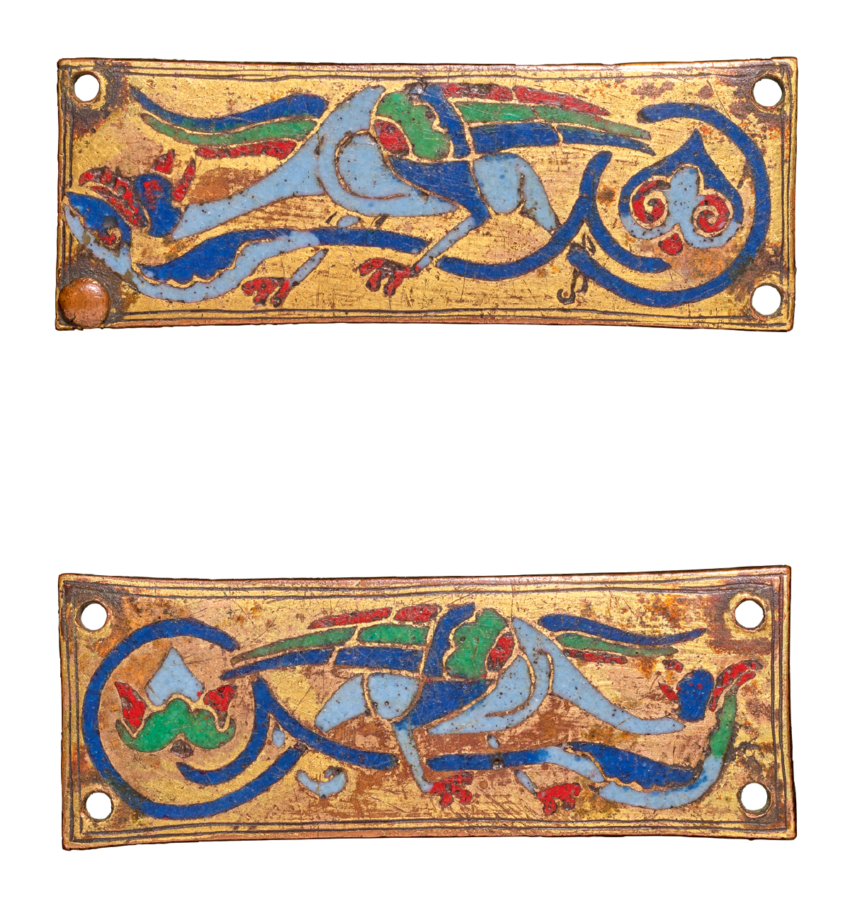 SPANISH, POSSIBLY SILOS, OR FRENCH, LIMOGES, THIRD QUARTER 12TH CENTURY | PAIR OF PLAQUES WITH MYTHICAL BIRDS
