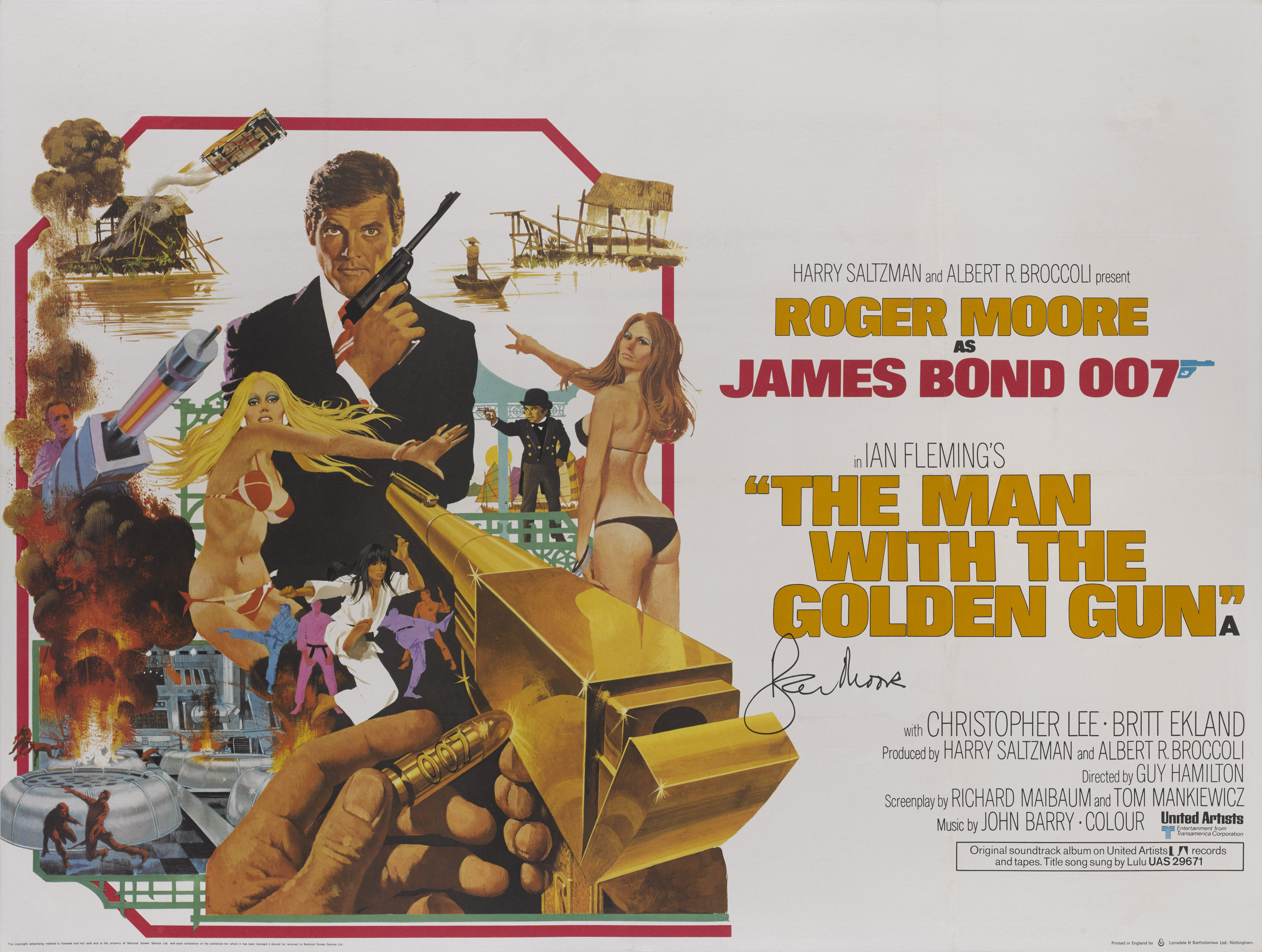 THE MAN WITH THE GOLDEN GUN (1974) POSTER, BRITISH, SIGNED BY  ROGER MOORE