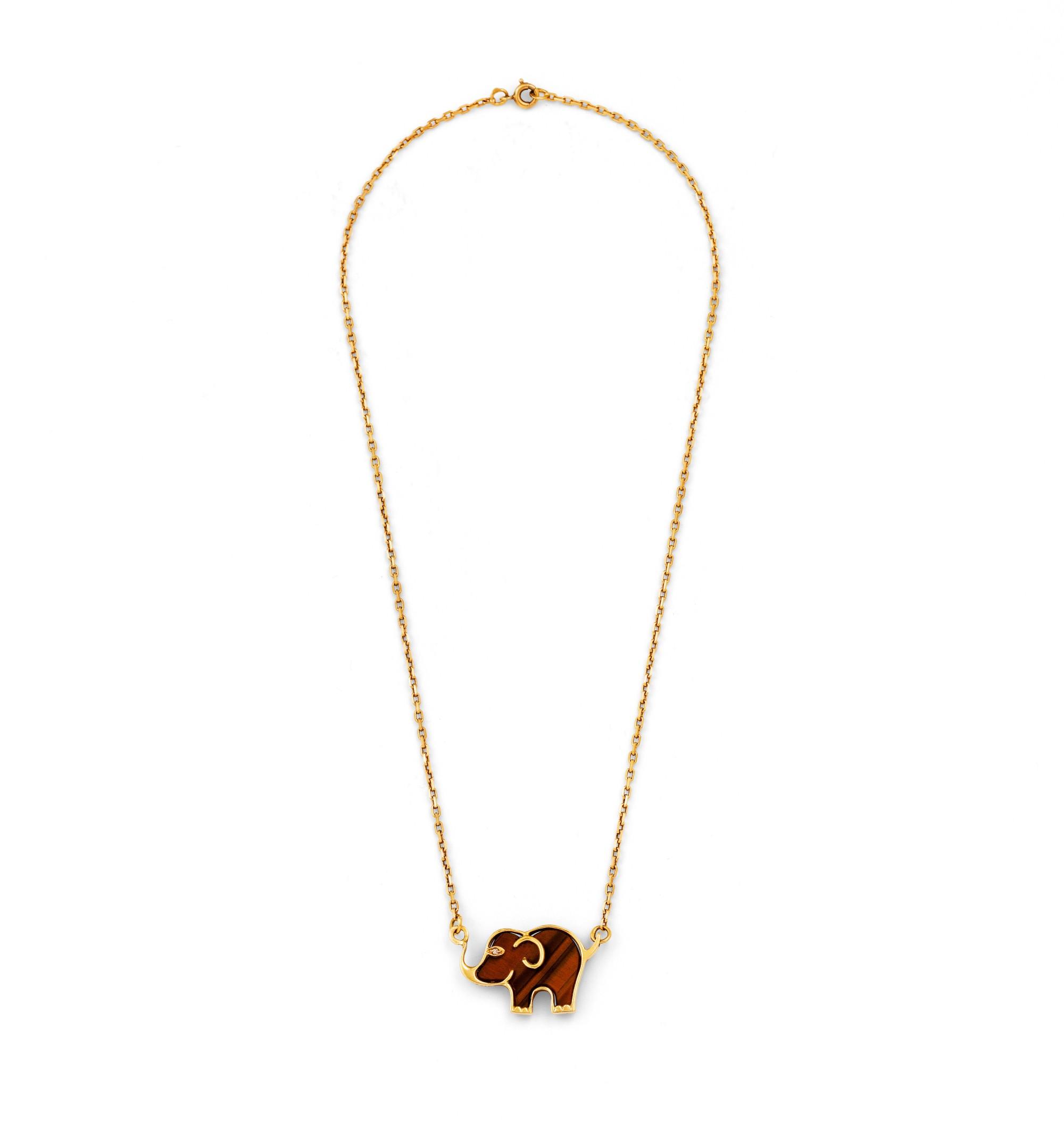 Cartier, Tiger eye quartz and diamond necklace [Collier oeil de tigre et diamant]