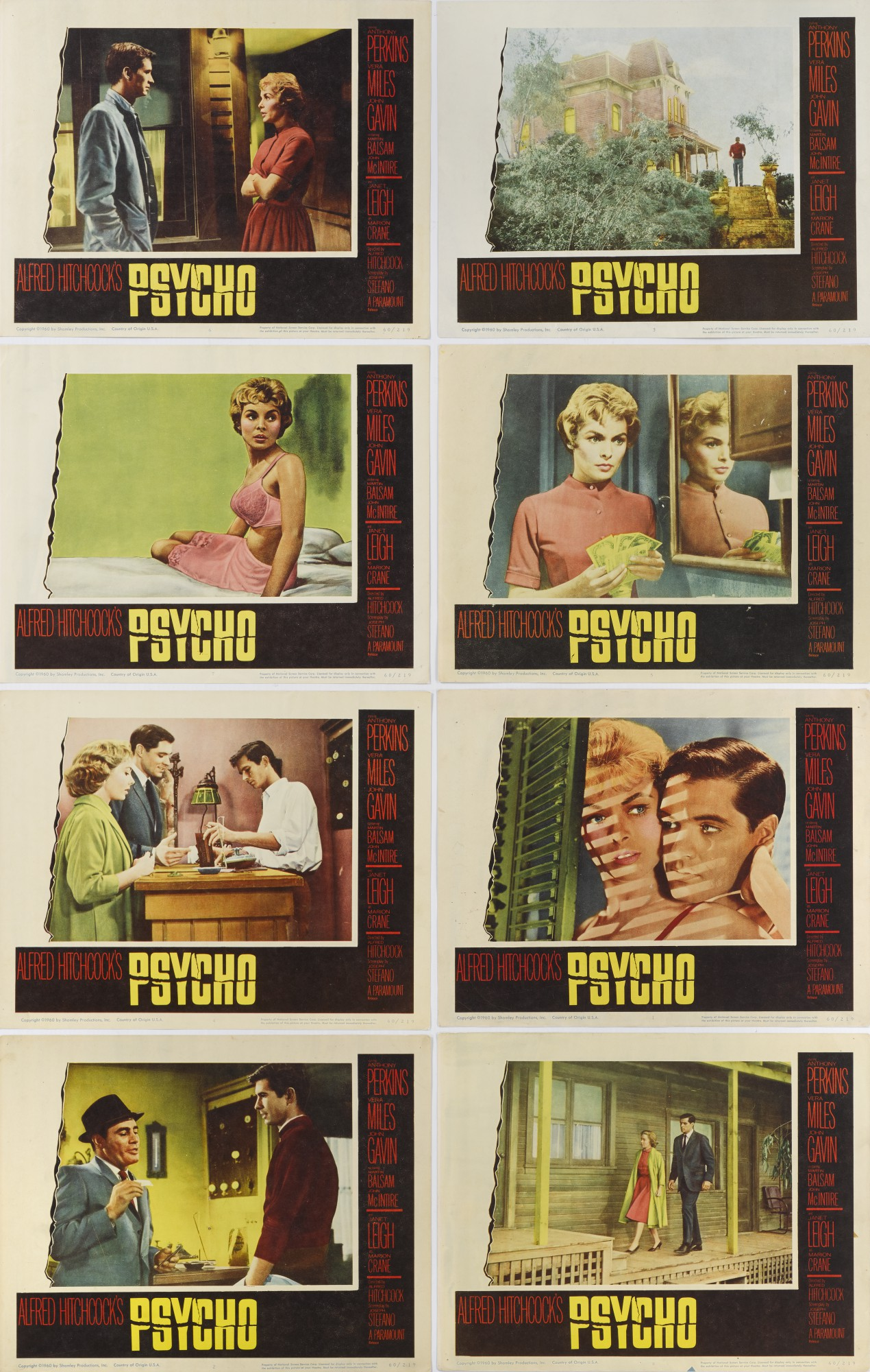 PSYCHO (1960) COMPLETE SET OF LOBBY CARDS, US