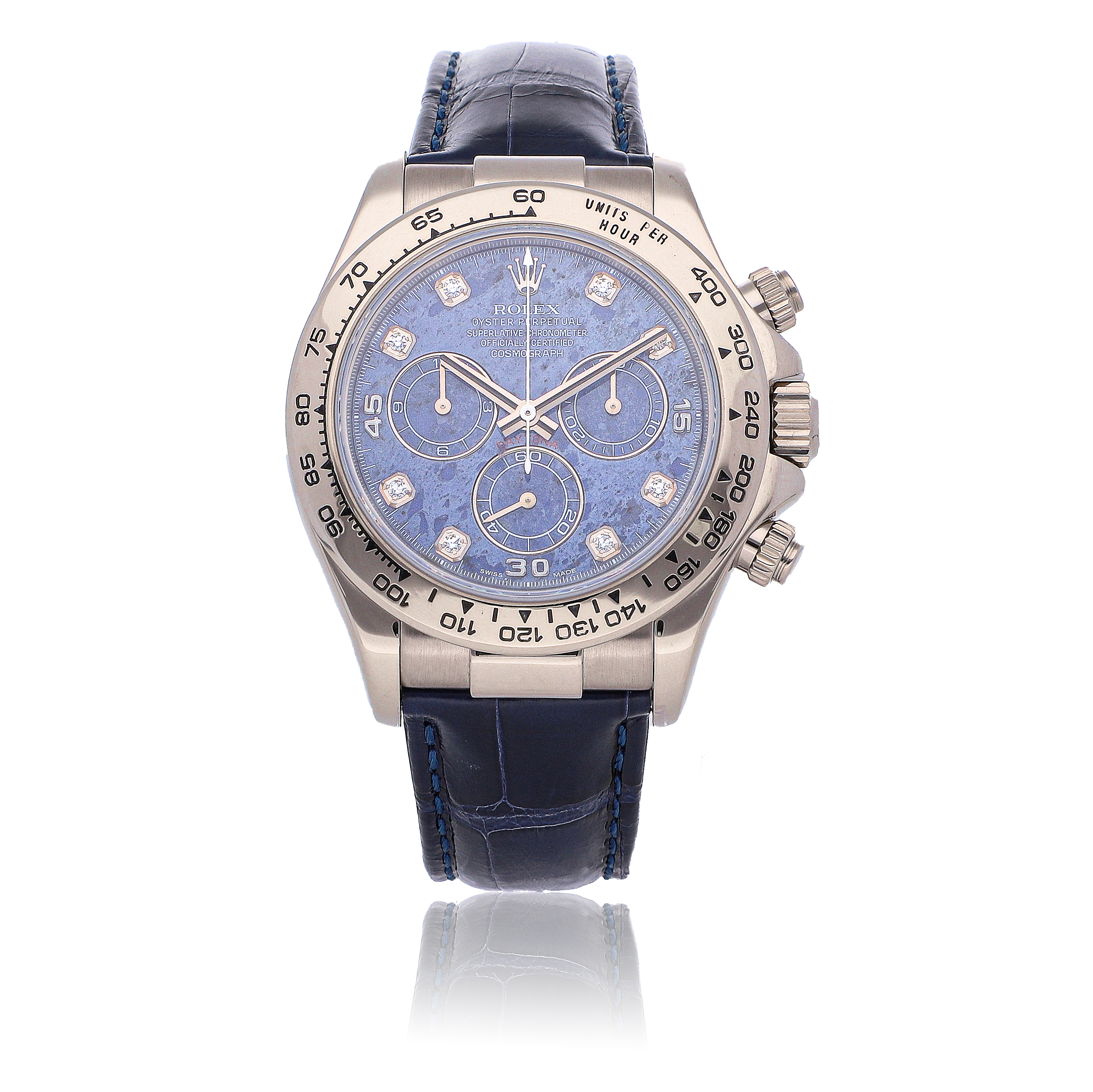 View full screen - View 1 of Lot 464. ROLEX   DAYTONA REF 116519, A WHITE GOLD AUTOMATIC CHRONOGRAPH WRISTWATCH WITH SODALITE AND DIAMOND-SET DIAL CIRCA 2004     .